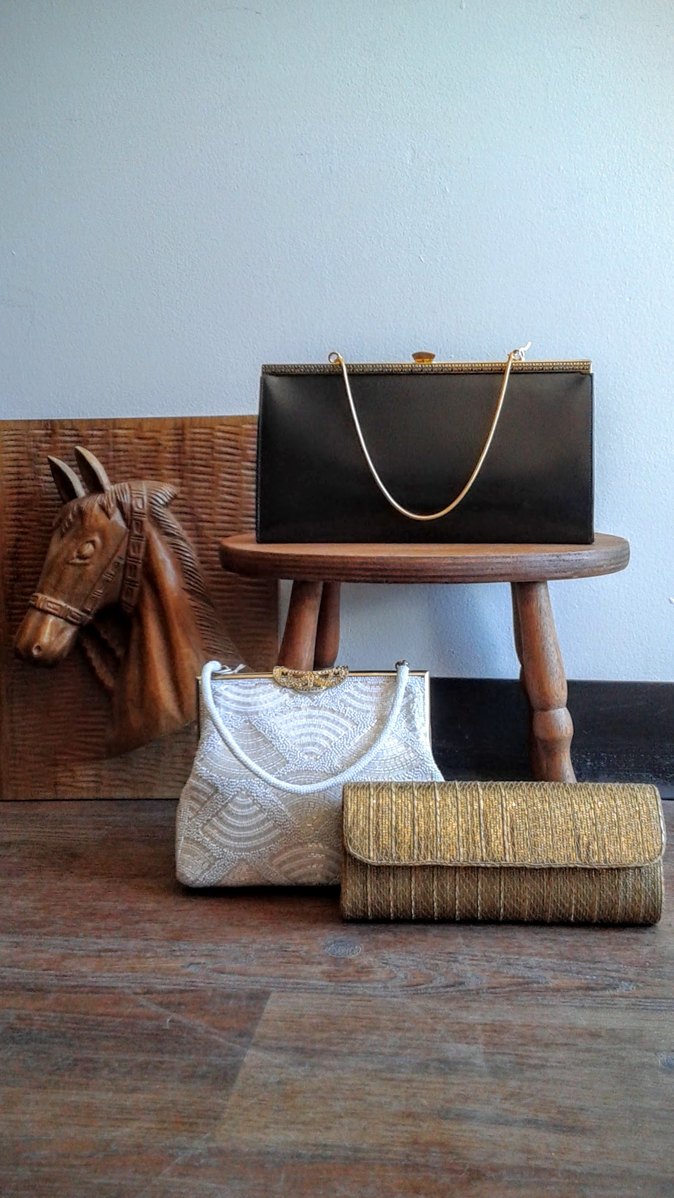 Black purse, $18; White purse, $20; Gold purse, $24