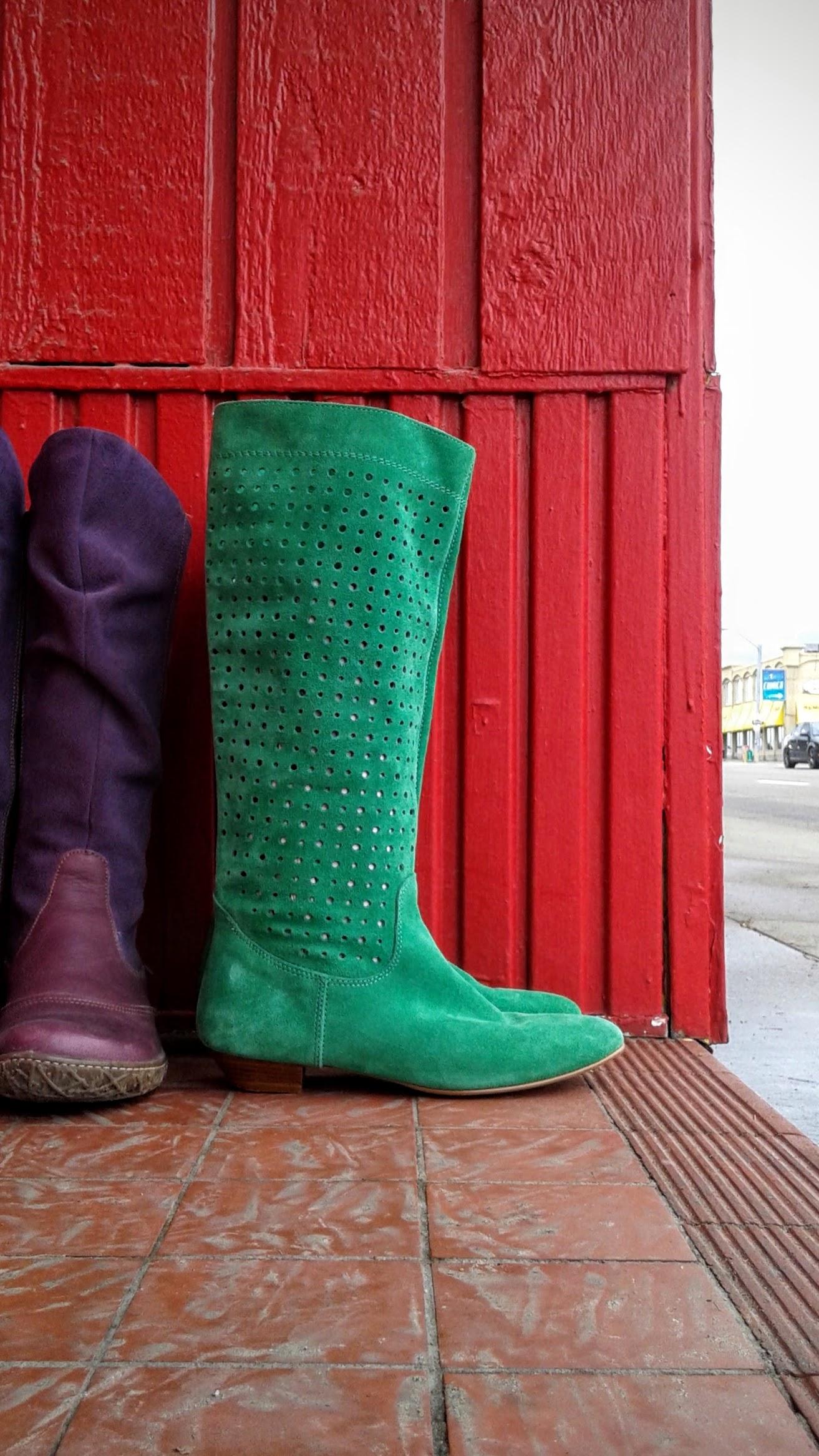 El Natutalista  purple boots, S8, $85;Green Suede  Aldo  boots, S8, $48