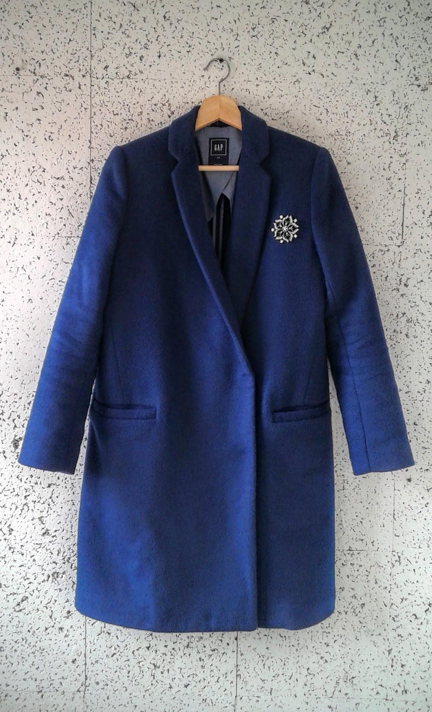 Gap coat; Size S, $48. Pin, $14