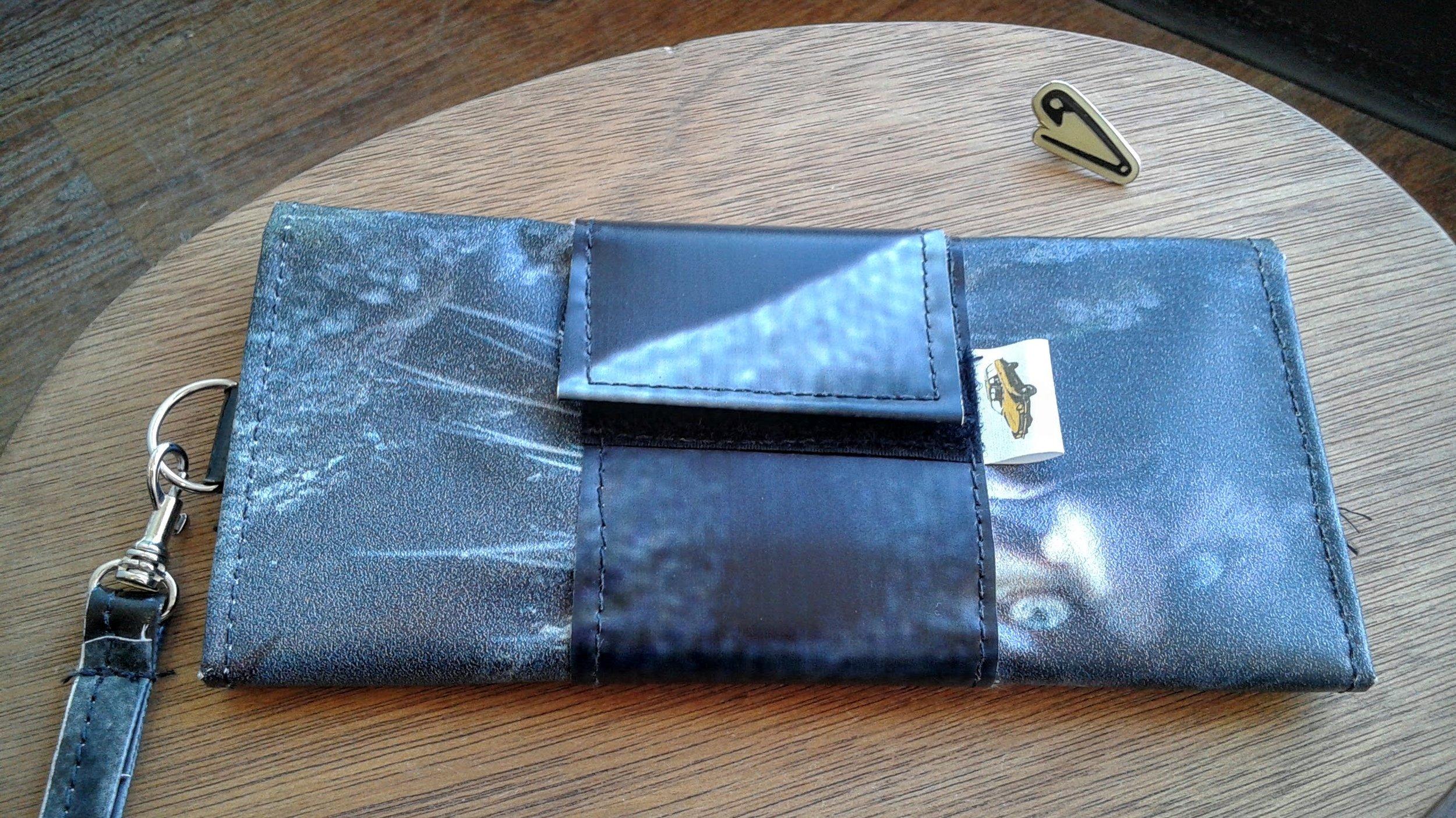 Pinto Bags wallet, $16; Saftey pin pin, $7