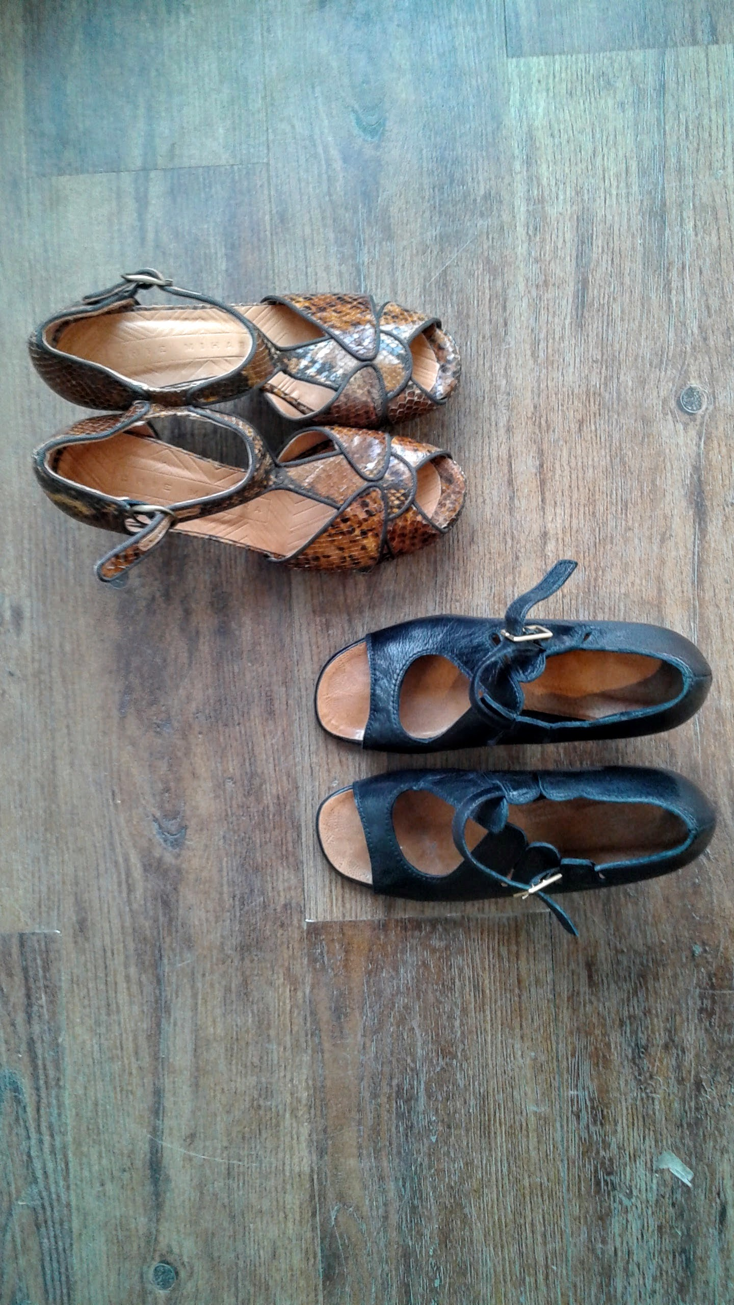 Chie Mihara shoes; Brown S7.5, $175; Black S7.5, $150