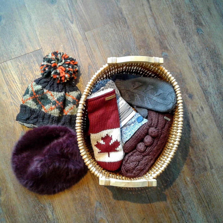 DeLux tuque, $24;Ralph Lauren beret, $24;Blue DeLux mittens $20; Brown DeLux mittens, $18; Maple leaf DeLux mittens, $24; Go Gidget Go mittens, $30
