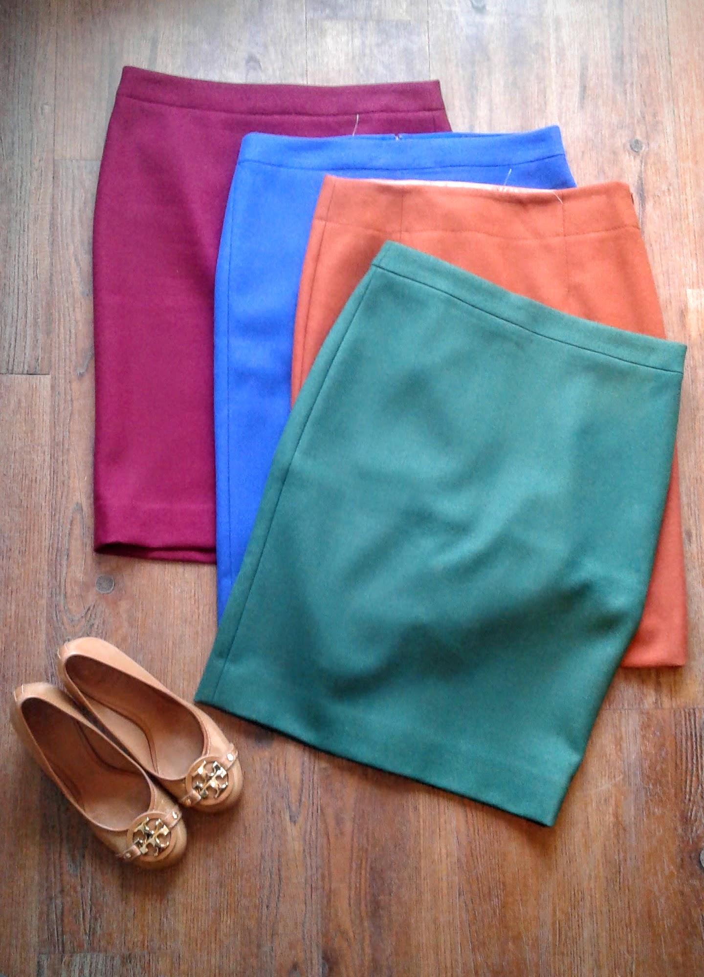 JCrew wool skirts, sizes 4-10, $42 each