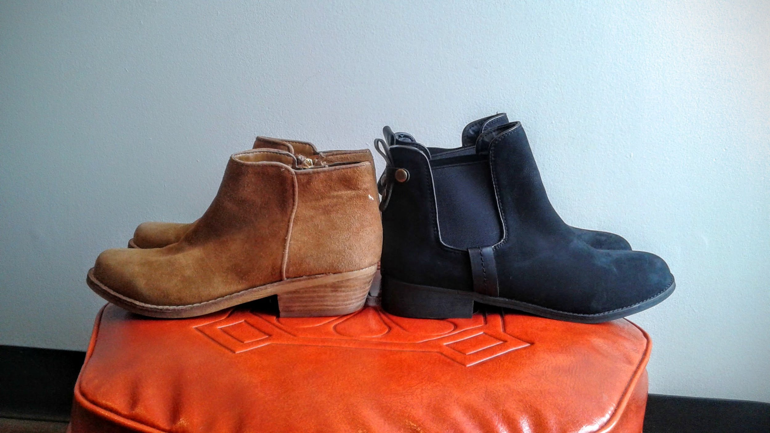 Sam Edelman tan booties, S7.5, $55;  Steve Madden  black booties, S7.5, $45