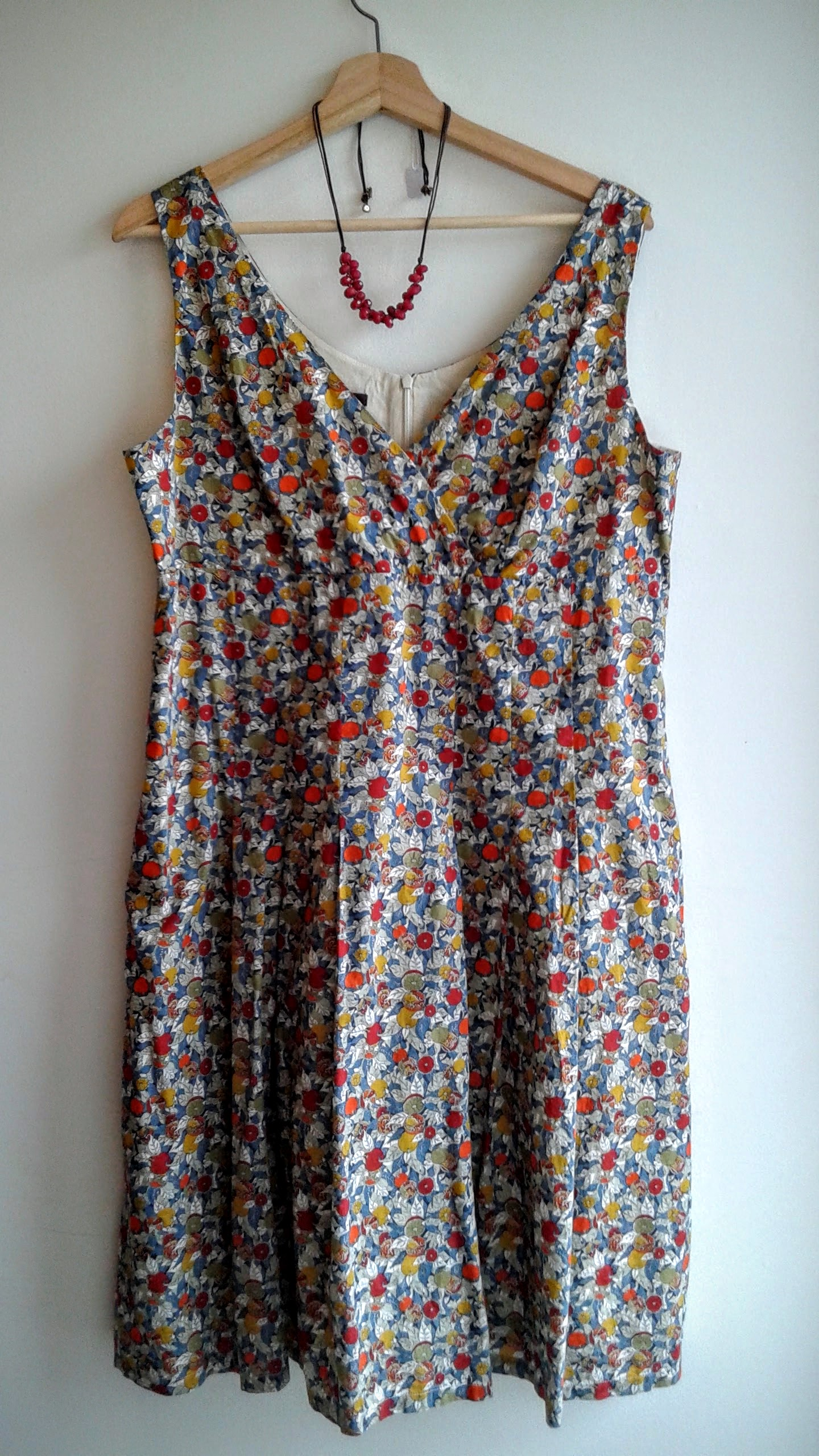 Liberty Art Fabrics dress; Size 14, $38; Fossil necklace, $38