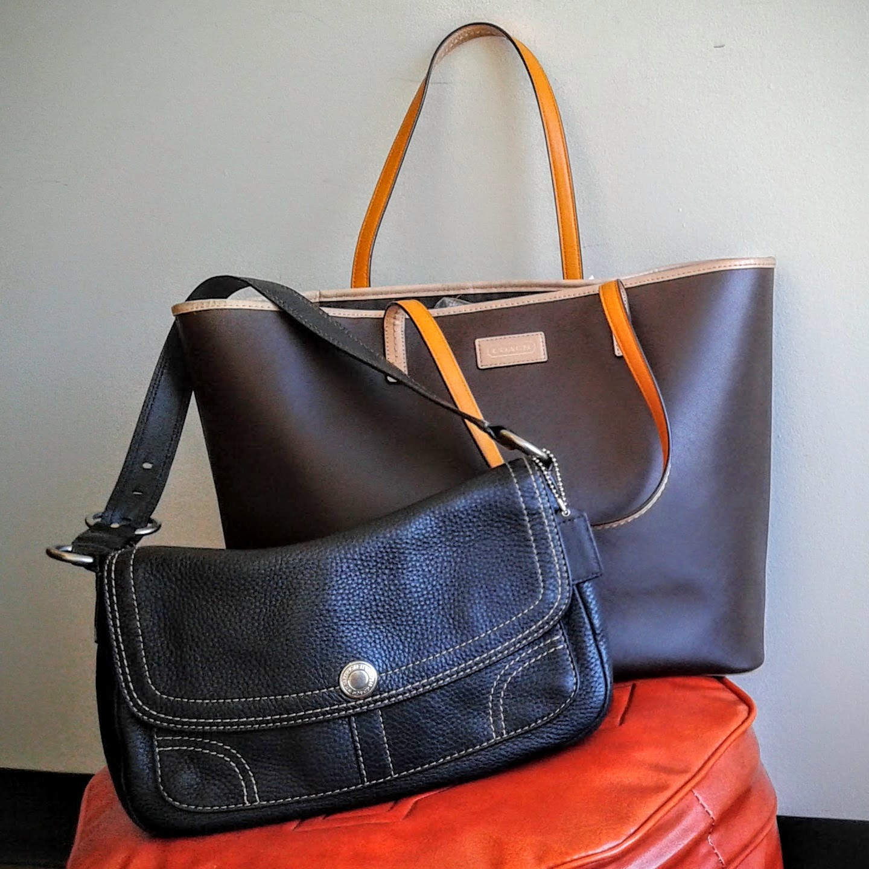 Coach purse, $75; Coach tote, $75