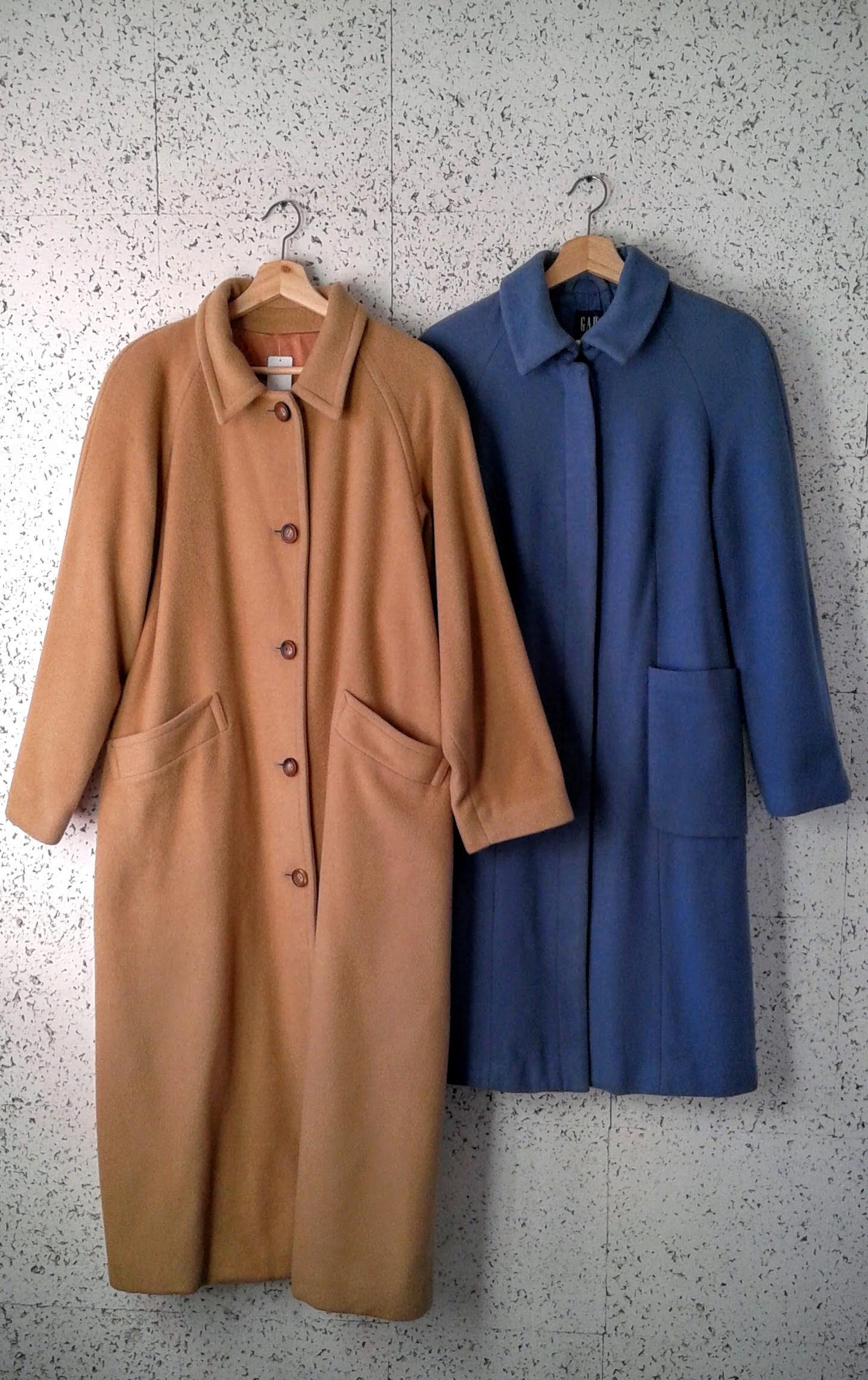 Camel coat, size M/L, $78; Gap coat, Size S, $58