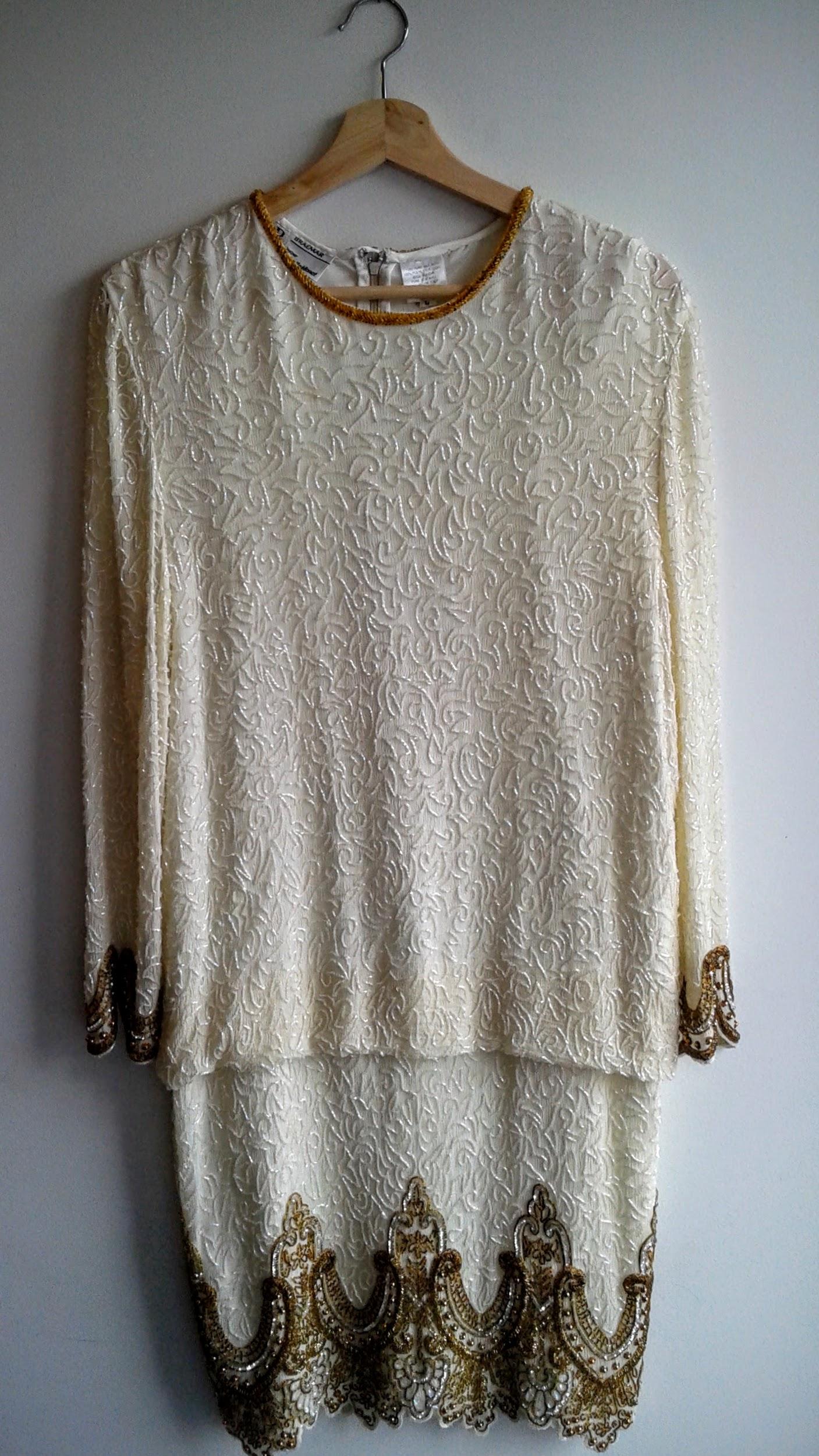 Vintage beaded dress; Size L $95