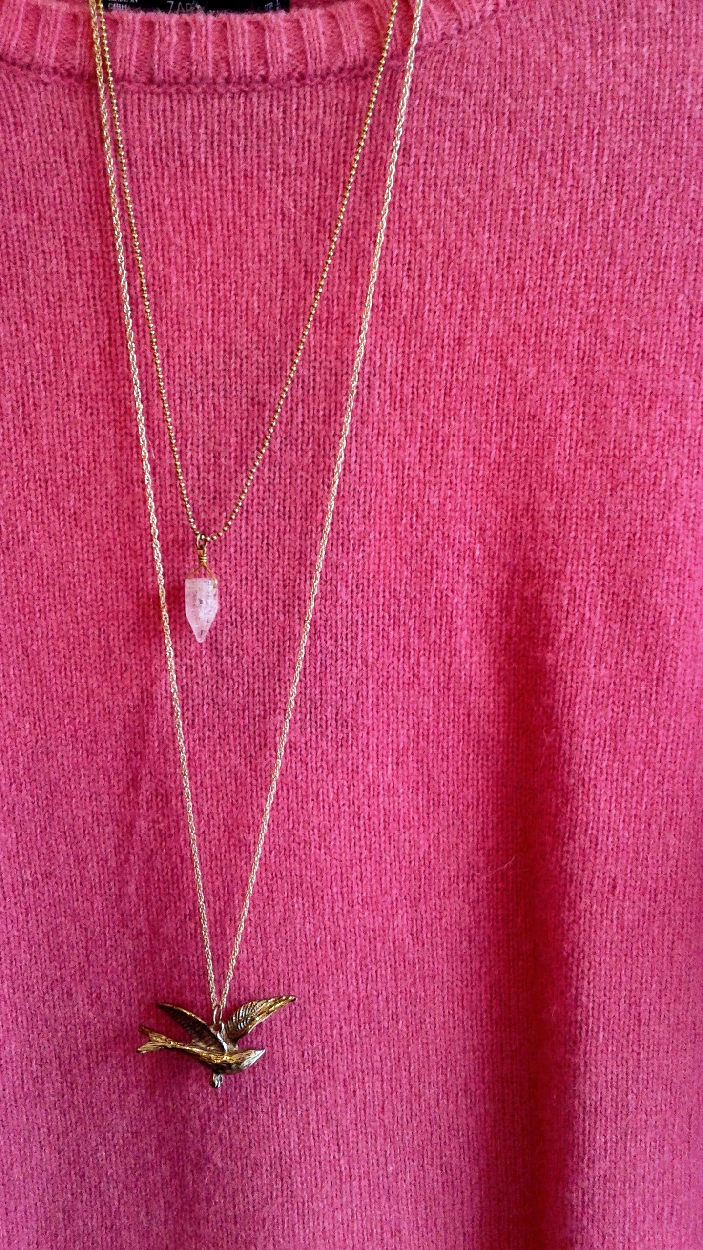 Pink quartz necklace, $24; Sparrow necklace, $18