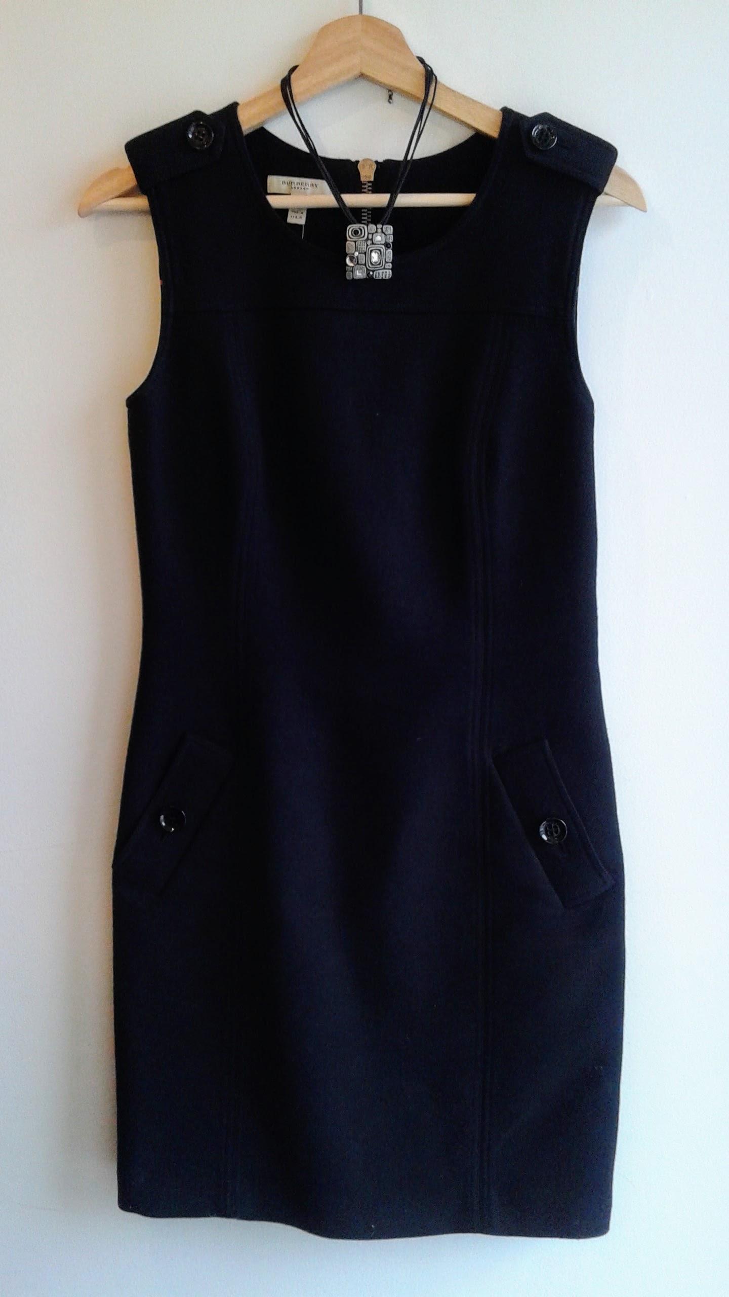 Burberry dress, S8, $150; Necklace, $16