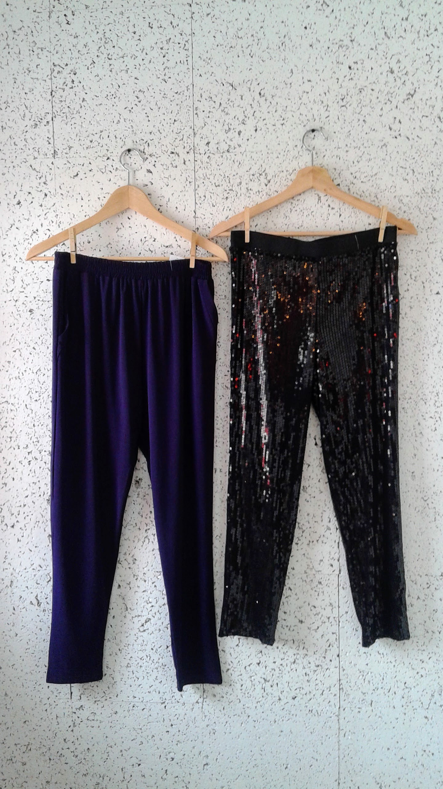 Workhall pants (NWT); Size M, $42. Sequin leggings; Size M, $20