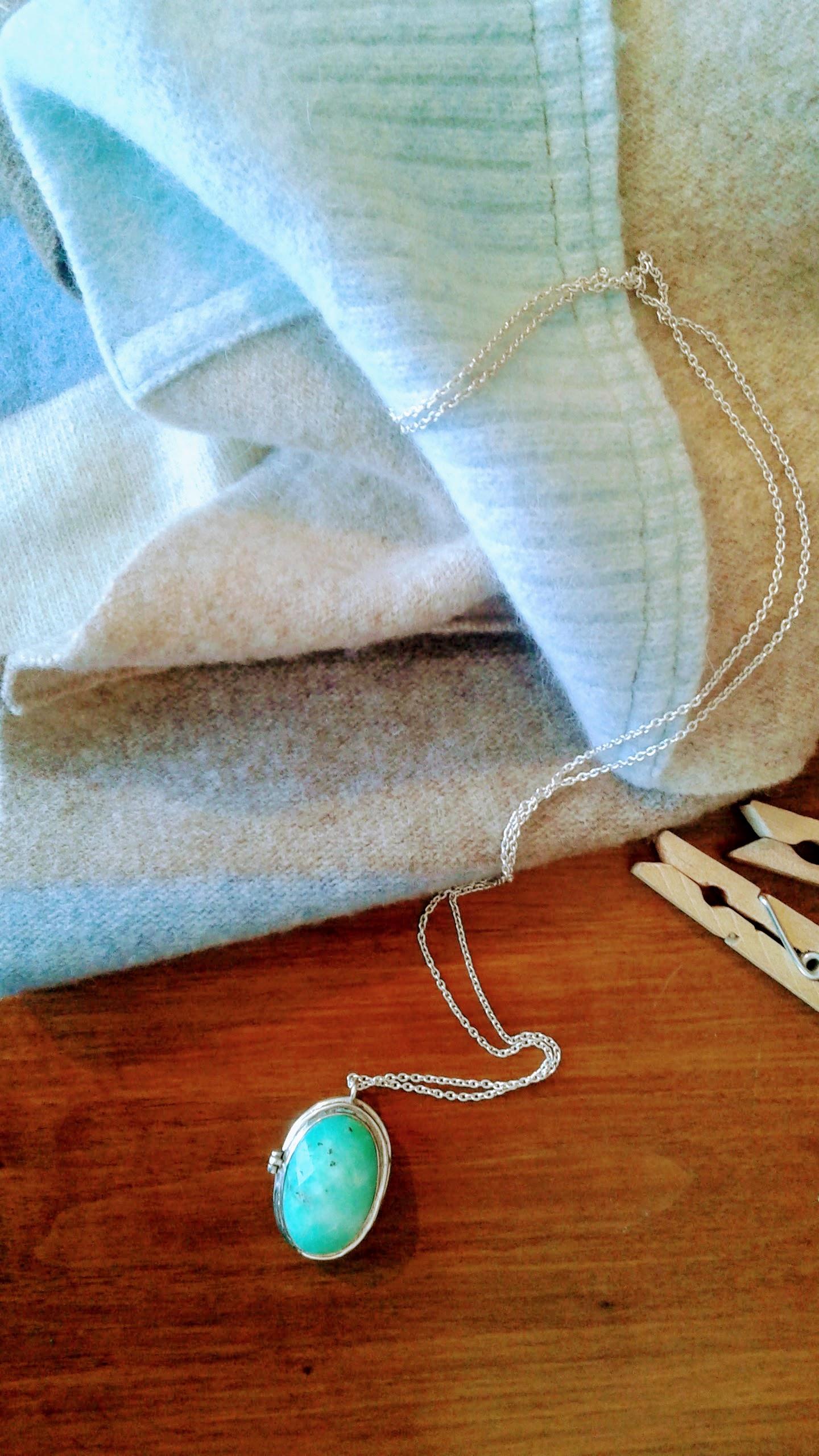 Jade locket, $30. Preloved scarf, $14