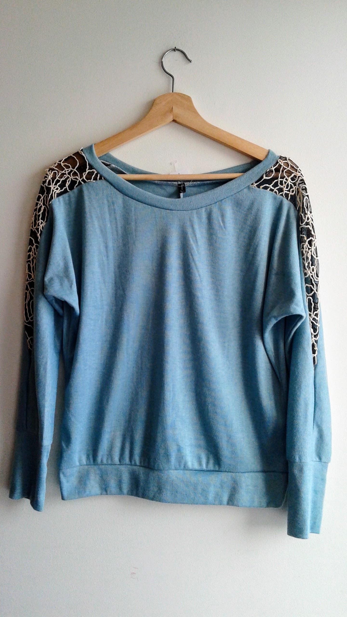 Blue top; Size M, $18