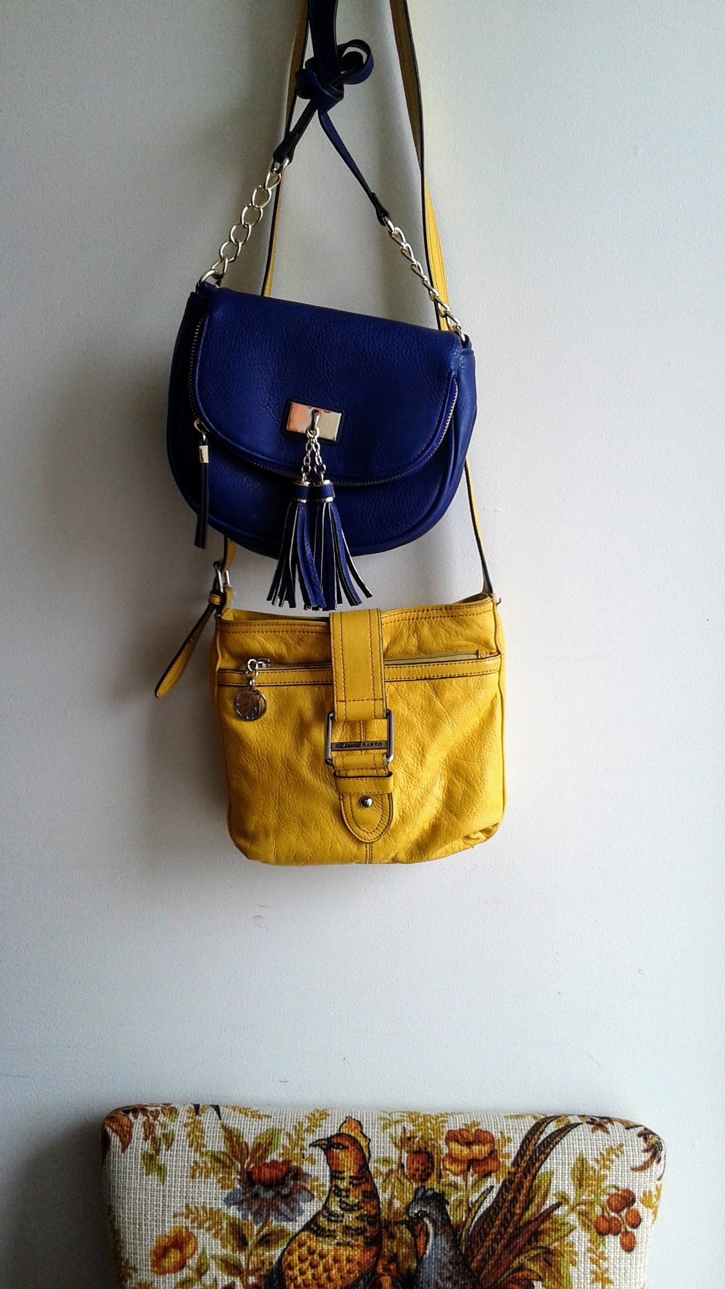 Blue purse, $20; Yellow Franco Sarto purse, $32