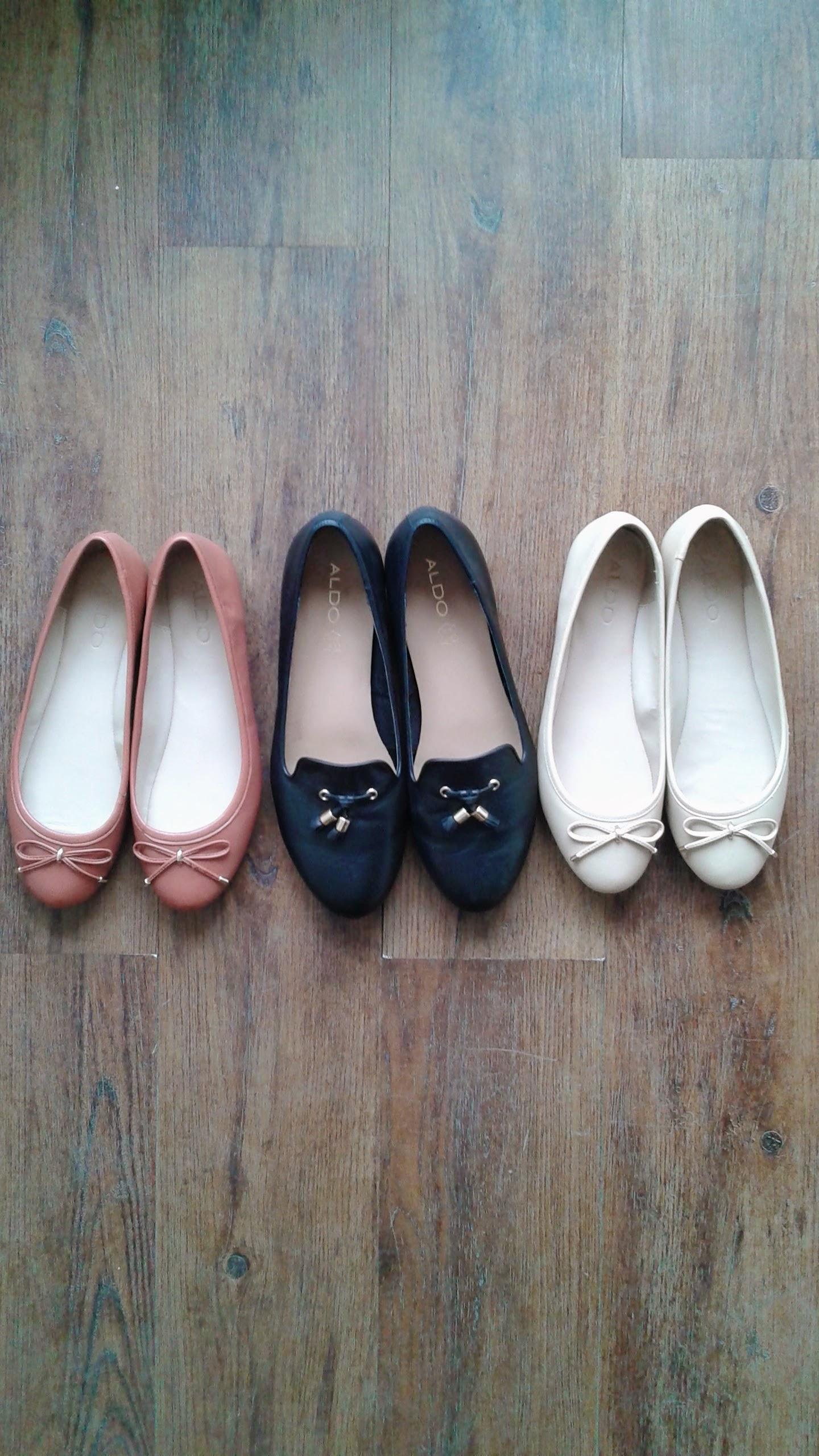 Aldo shoes: Salmon, S7, $28; Black, S8.5, $32; Beige S7, $28