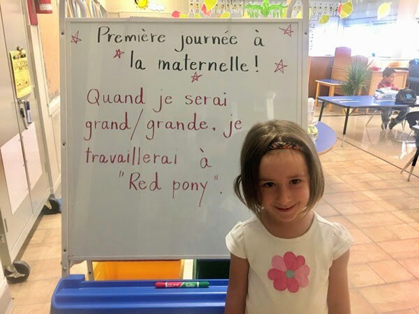 """First day in kindergarten! When I grow up, I will work at RED PONY"""