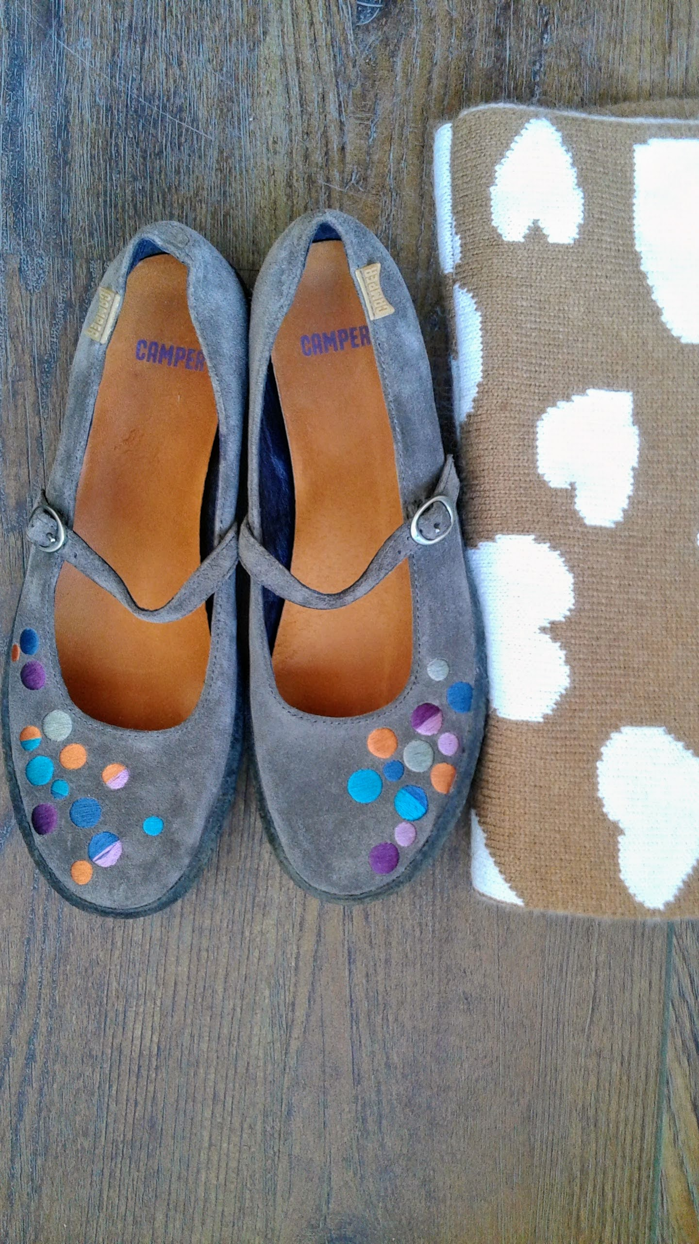 Camper shoes; S7, $40. J Crew scarf, $18
