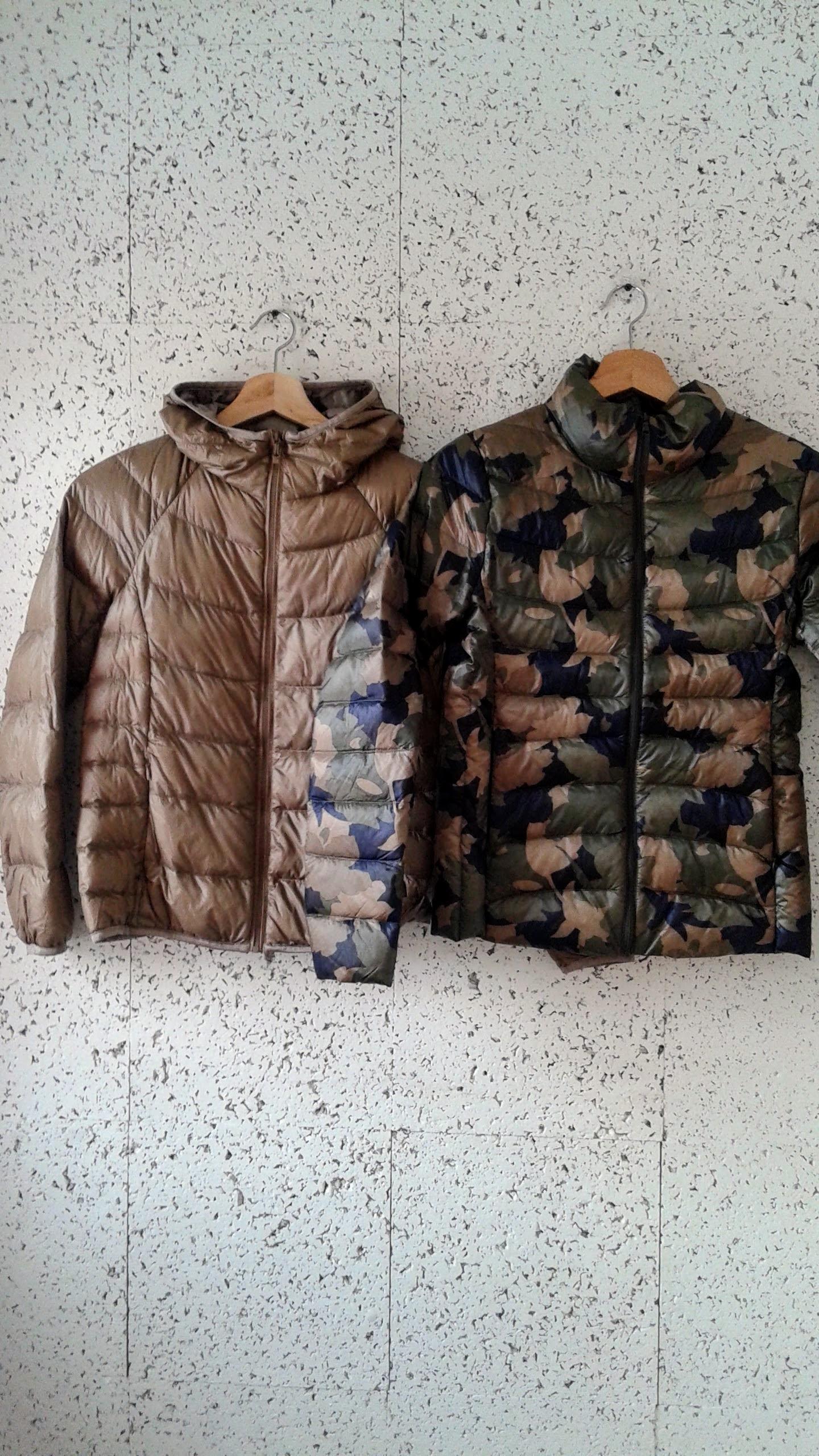 Uniqlo  gold jacket; Size S, $60. Uniqlo camo jacket; Size XS, $60