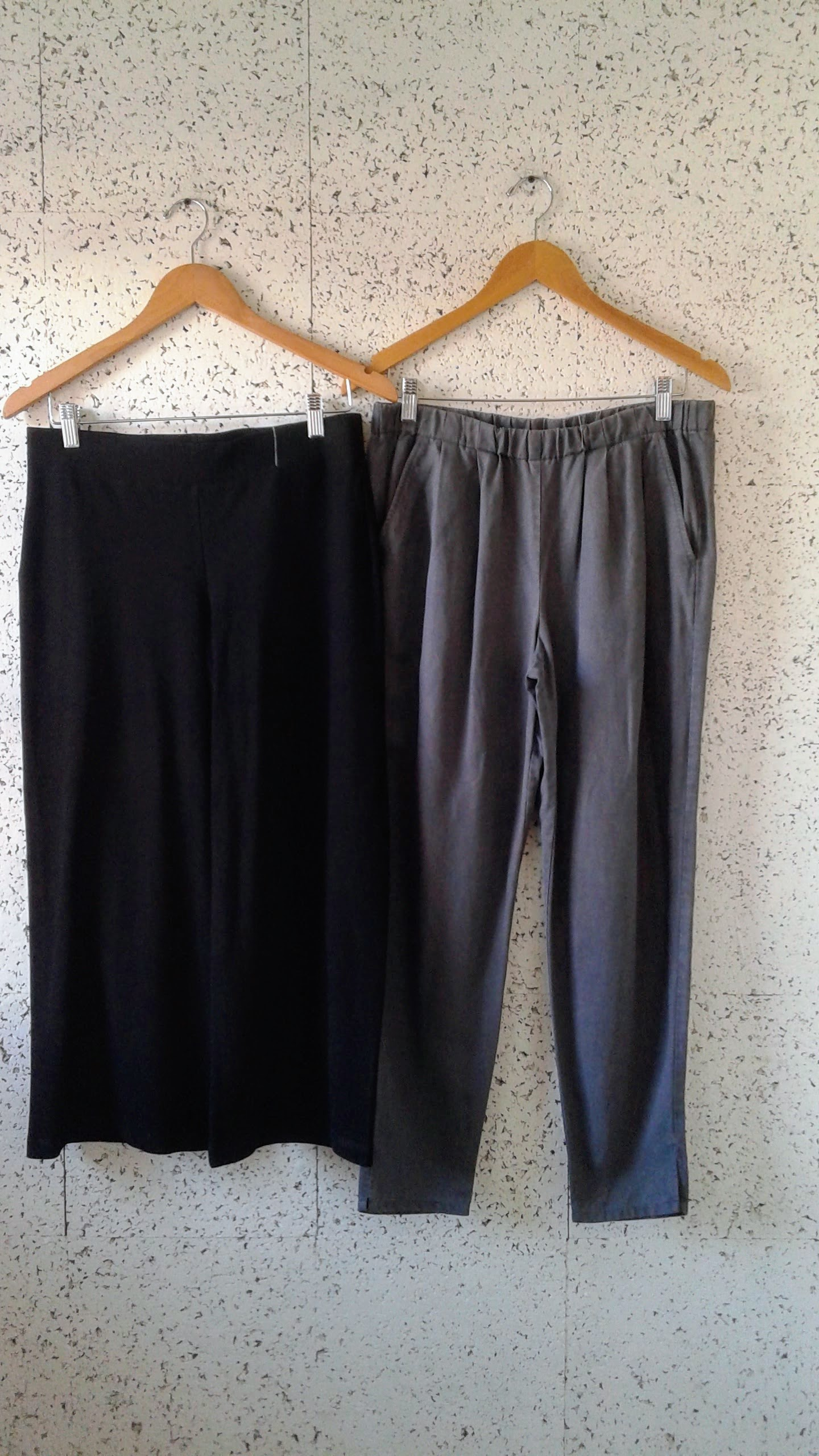 Eileen Fisher black pants; Size S, $40. Eileen Fisher grey pants; Size M, $40