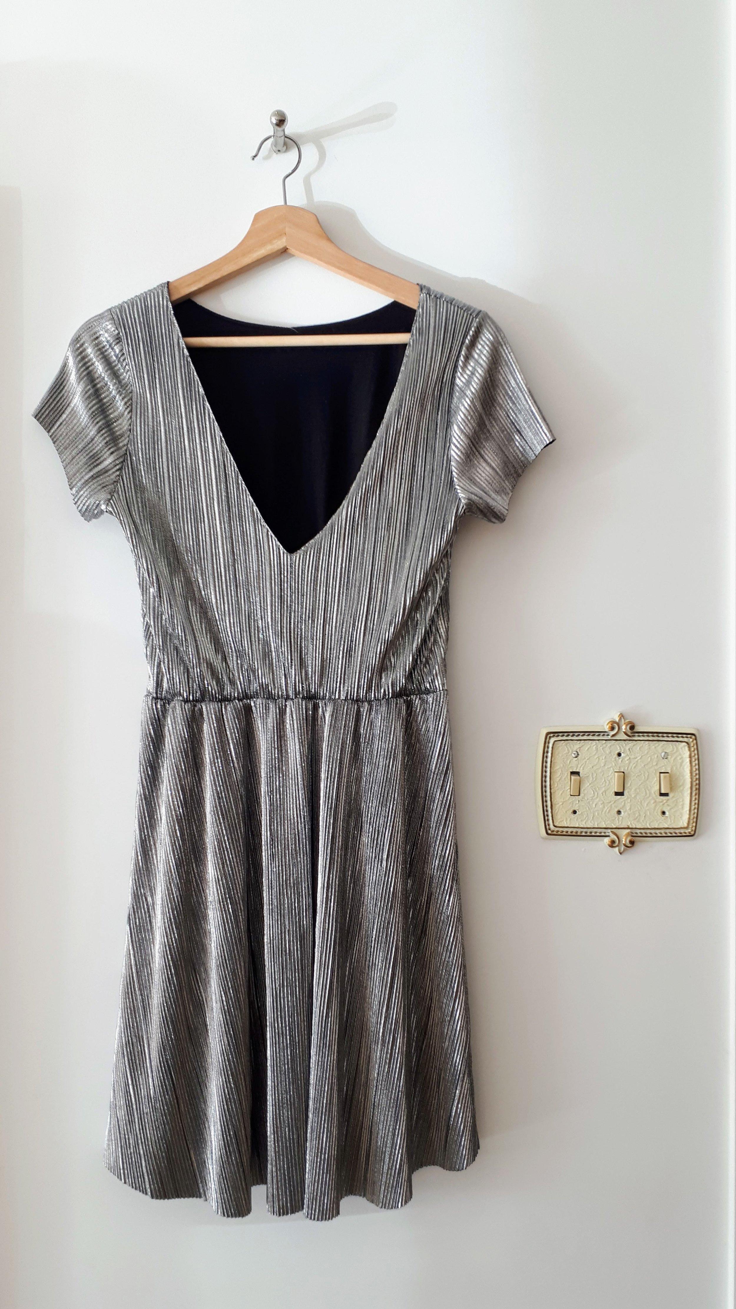 Silver dress; Size S, $26