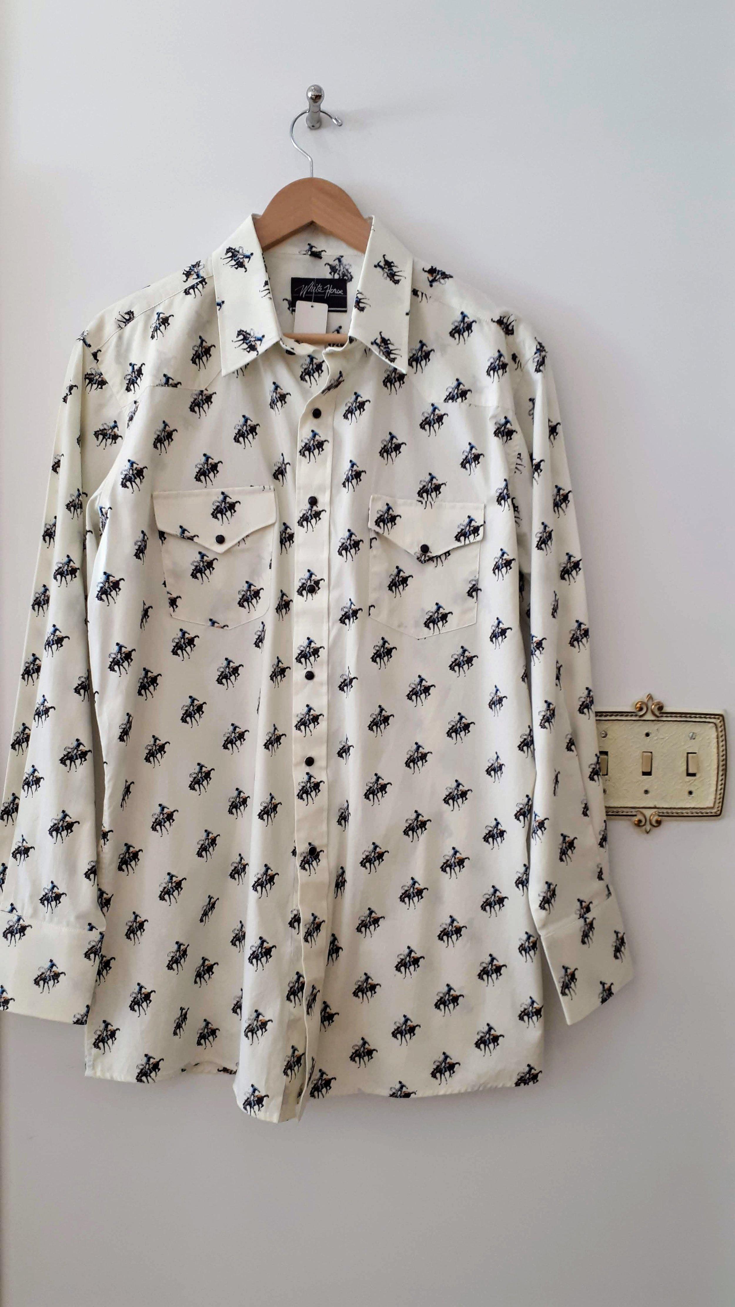 White Horse shirt; Size L, $40