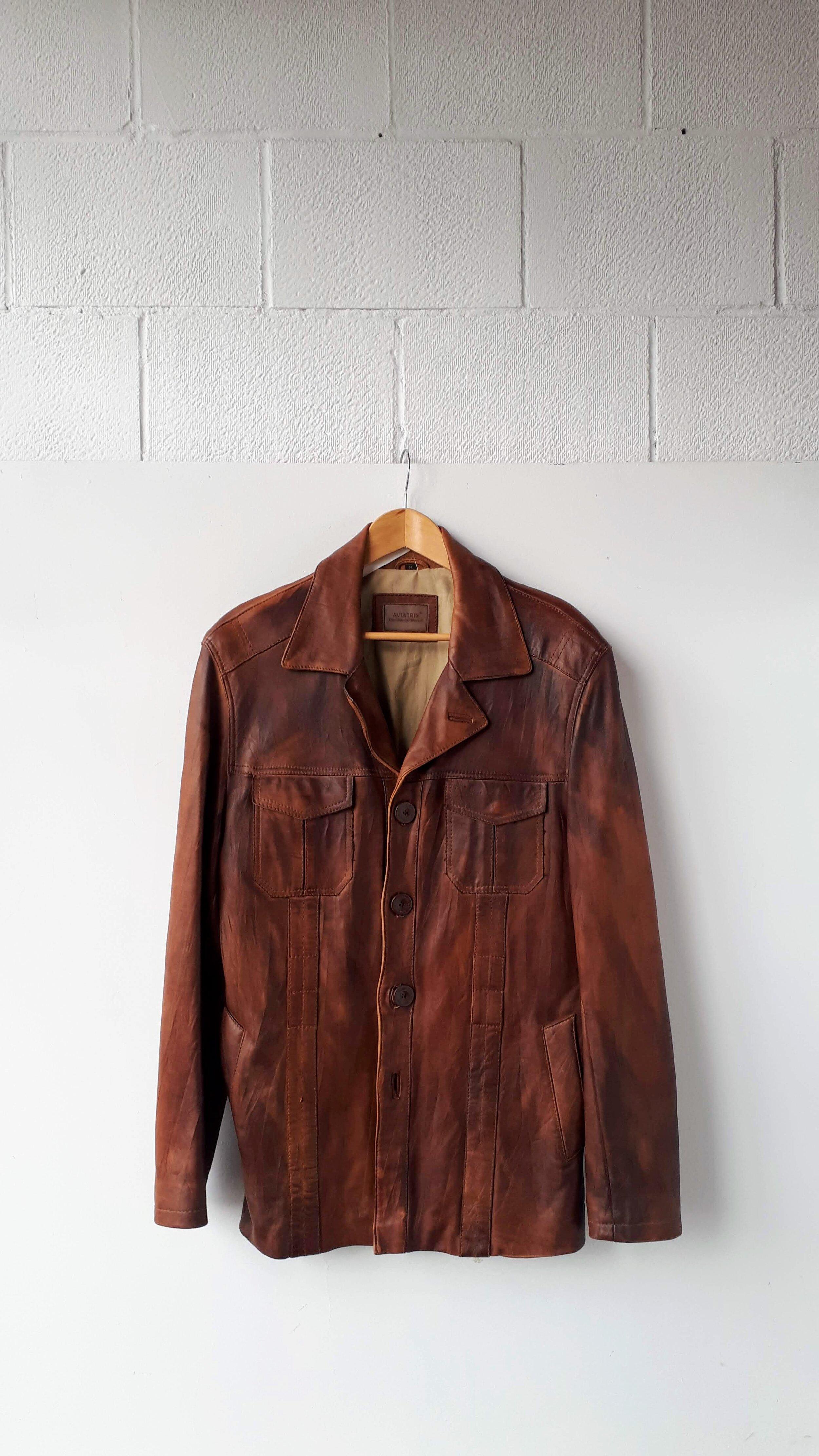 Leather coat; Men's size M, $62