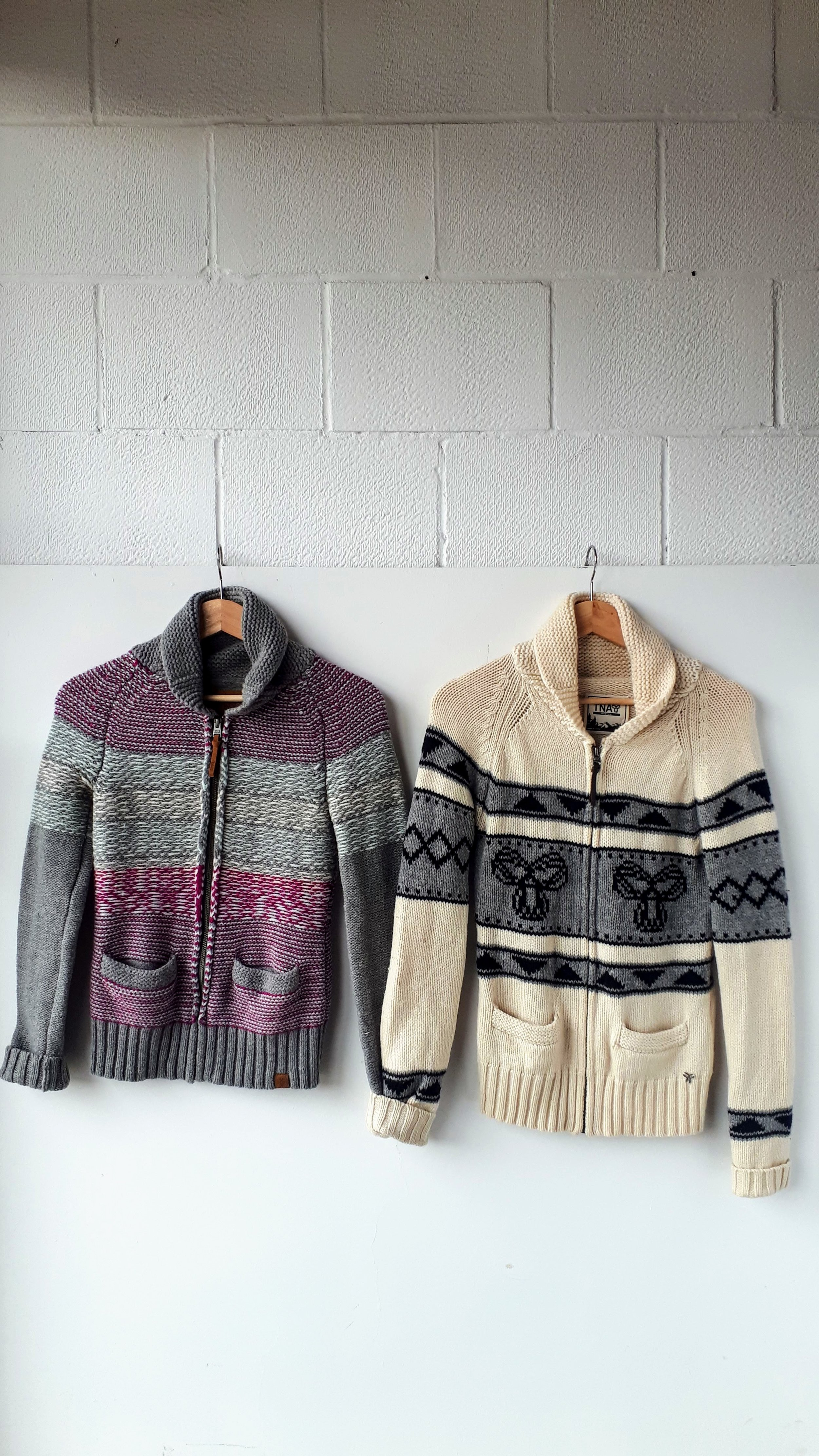 Pink TNA sweater; Size S, $34. Cream TNA sweater; Size M, $34