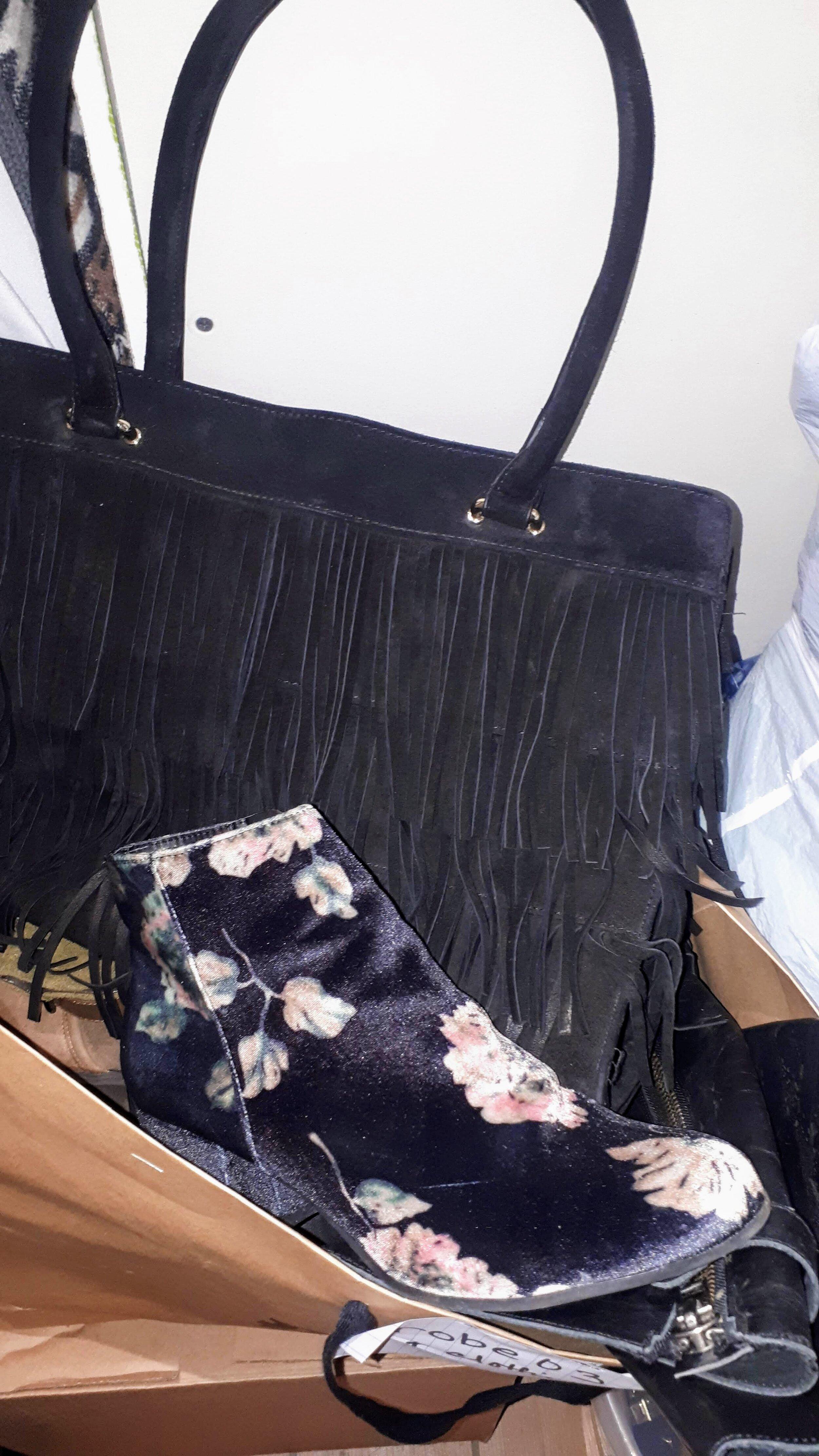Velvet floral booties and a fringe bag!