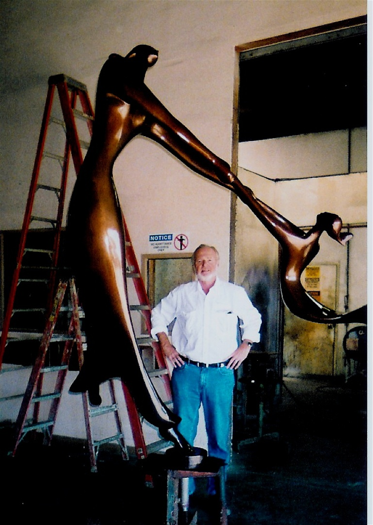 Artist at his California Foundry with the 8 foot high   Dance of Life   for Installation in Chicago.
