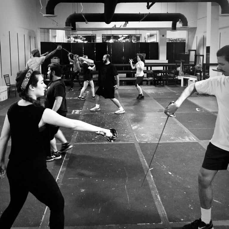The cast of  The Three Musketeers  learning one of ten fight sequences in the show.