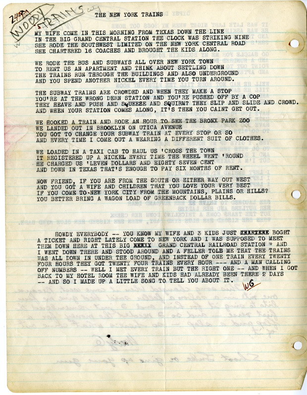 """The New York Trains"" original typed lyrics by Woody Guthrie. © Woody Guthrie Publications, Inc."