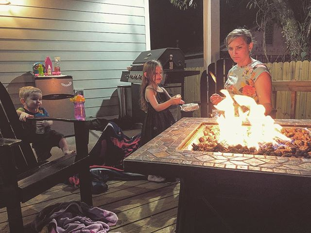 """Enjoying the start of a """"cold"""" front of 73 degree. Got some fresh propane, our sweet kiddos, marhmellows & some killer steaks from Seminole Heights Meat market."""