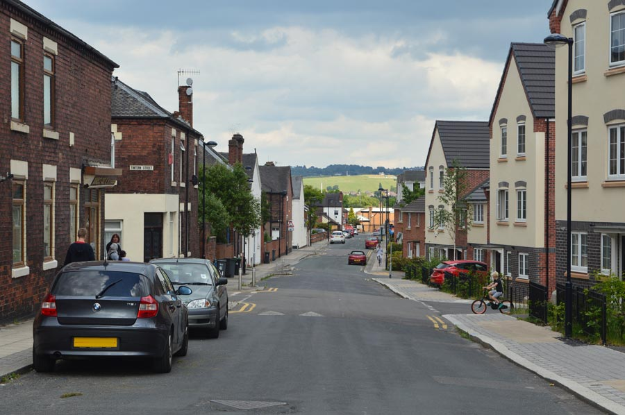 A new development of terraced houses and flats on the site of former Victorian terraced housing in Hanley.