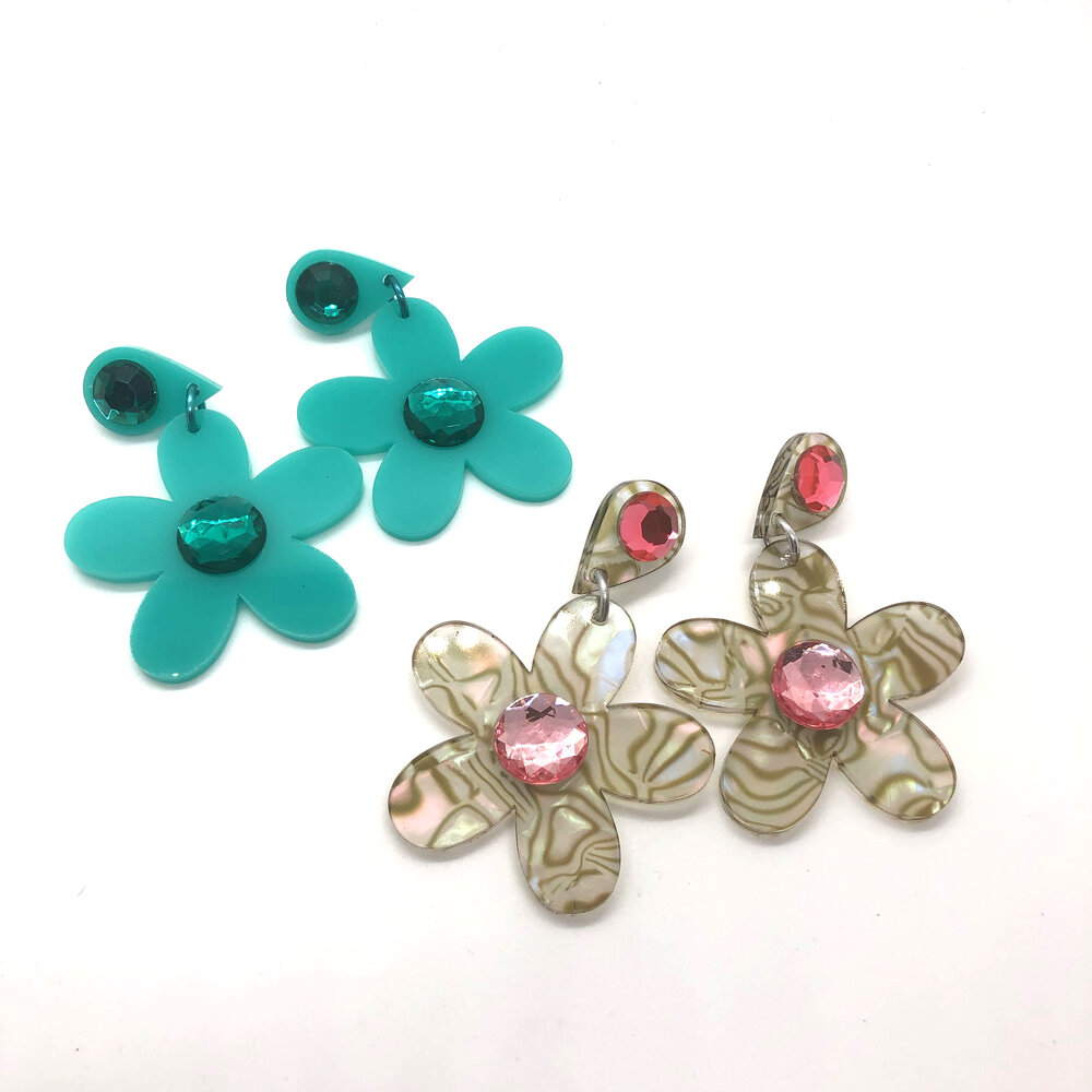 Pink and Blue Zebra Earrings