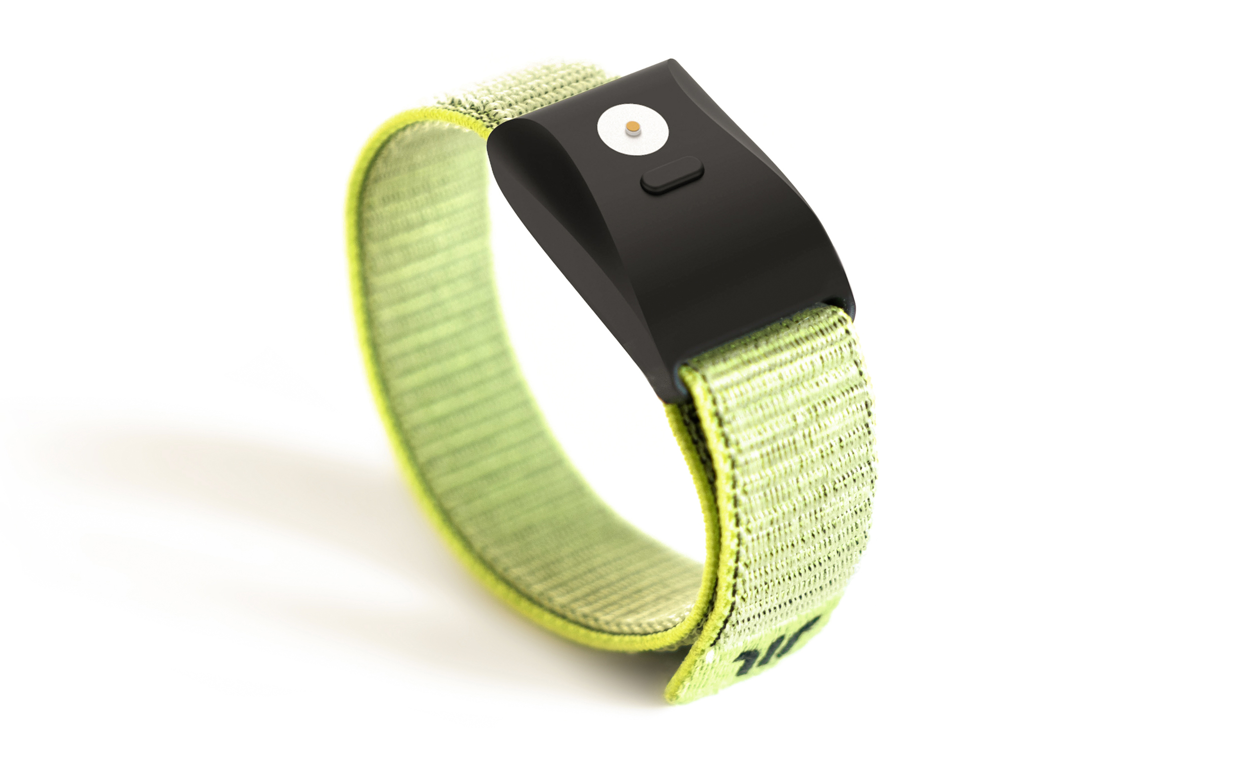 Wayband wristband with elastic green strap and matte black face