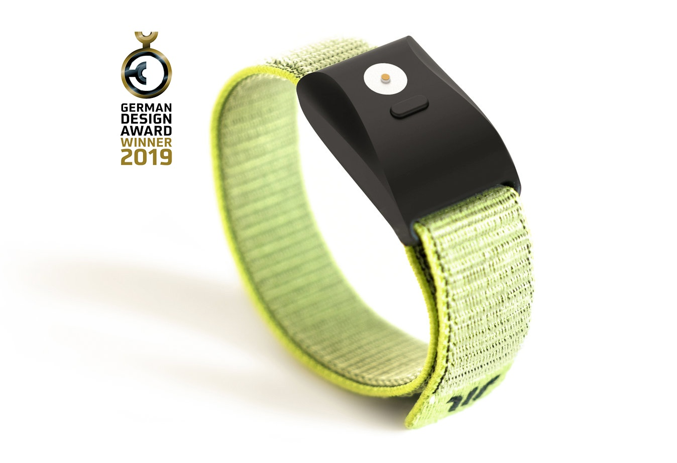Wayband wristband with elastic green strap and matte black face, German Design Award Winner 2019