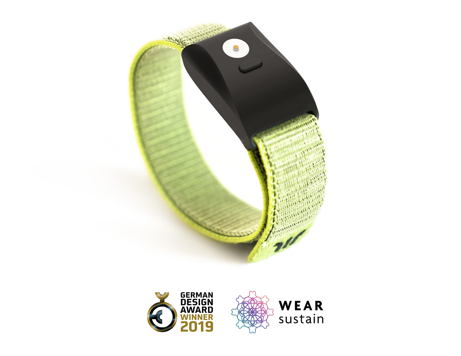 Wayband wristband with elastic green strap and matte black face, German Design Award and Wear Sustain Award Winner.jpg
