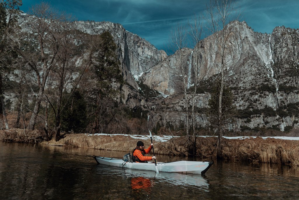 Oru Kayak - Yosemite Snowfall - With a recent snowstorm draping fresh powder over the valley, and more on the forecast, Connor and I loaded three origami kayaks into the truck, headed North towards Yosemite Valley.
