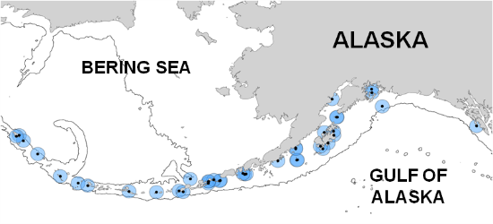 Locations of monitored puffin colonies in Alaska, shown with a 50-km foraging radius (blue circles). The black line is the 2000-m isobath.