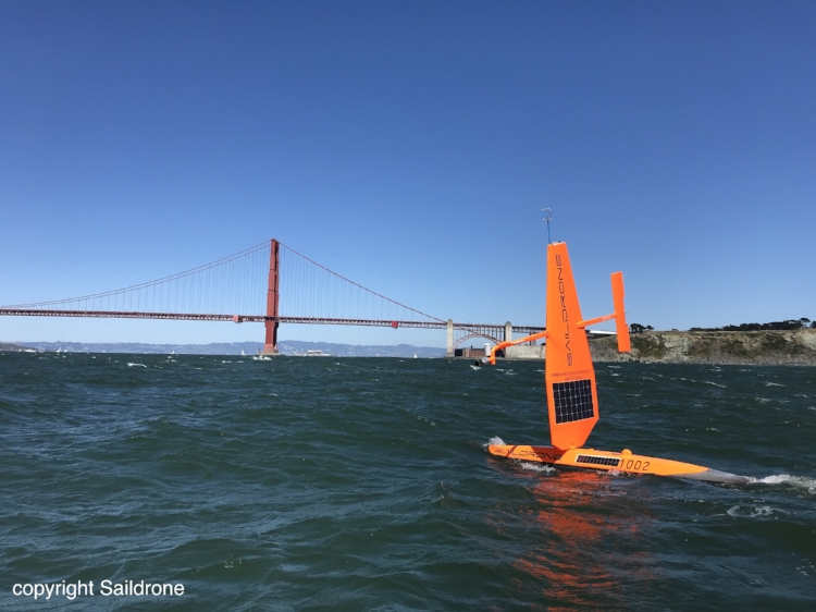 Saildrone monitors the ocean outside of San Francisco Bay