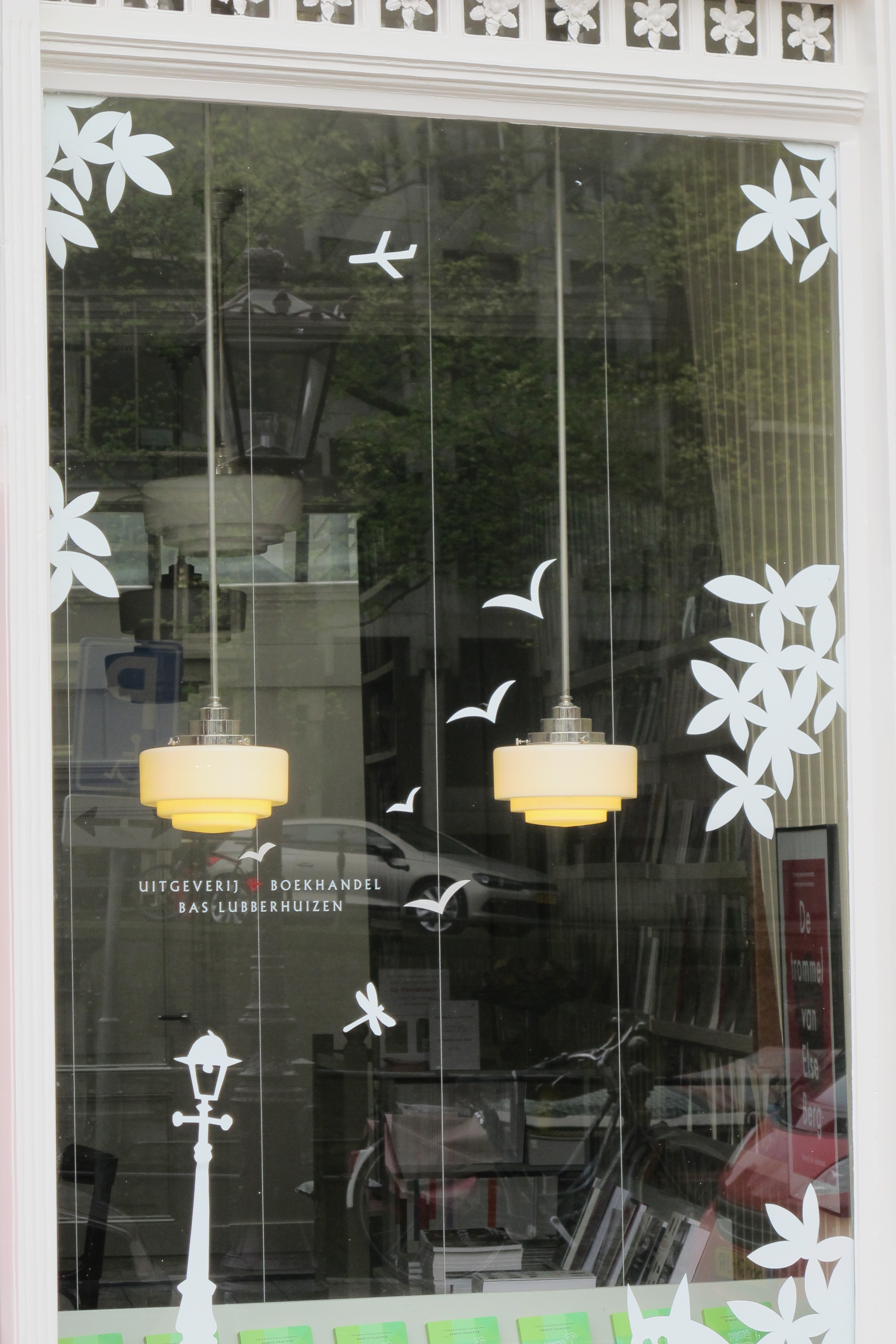 Window decorations for publishing house Bas Lubberhuizen, in Amsterdam, the Netherlands.