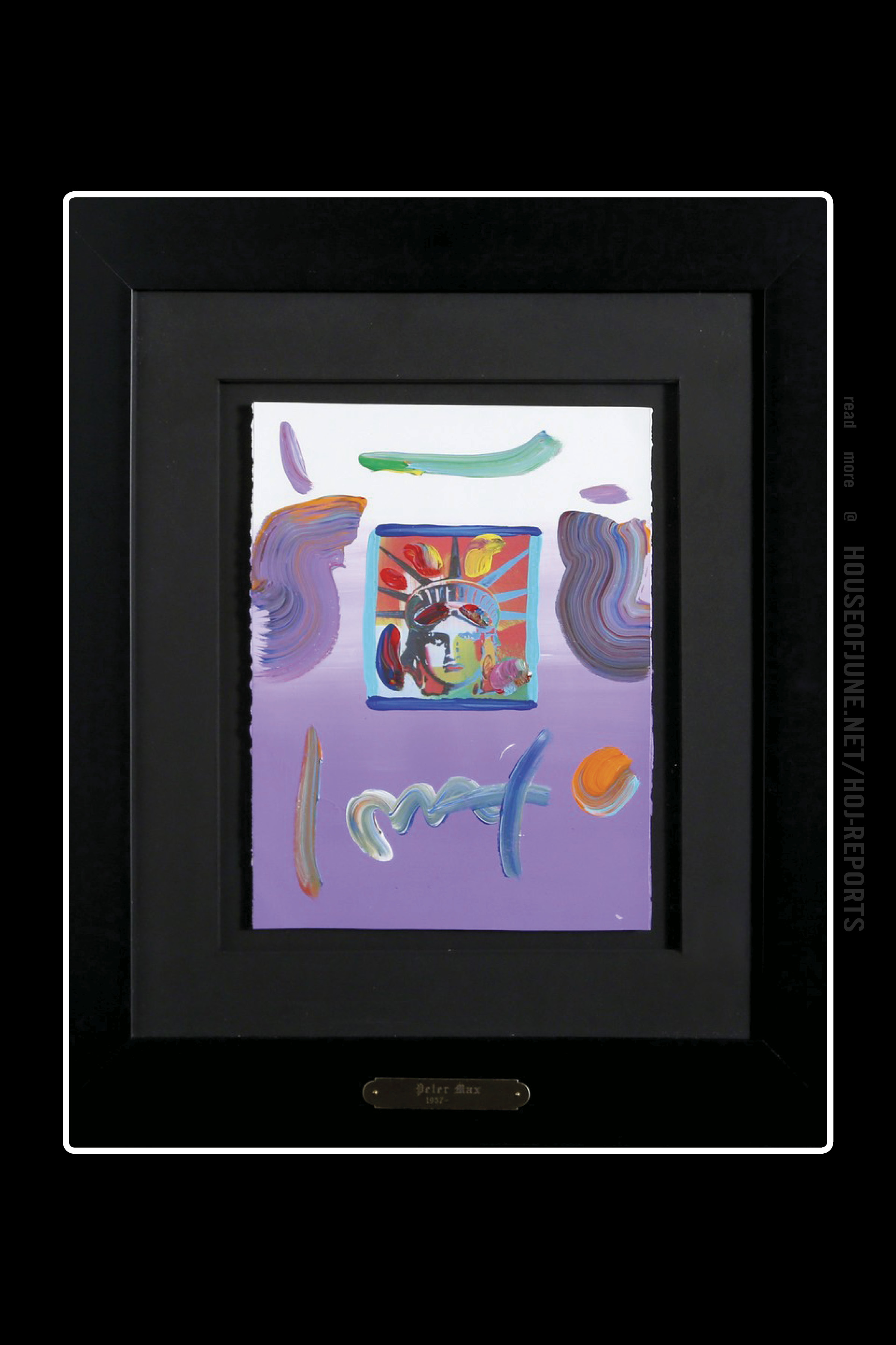 Peter Max   (Mixed Media Acrylic and Collage)  Liberty Head (Purple), 2010
