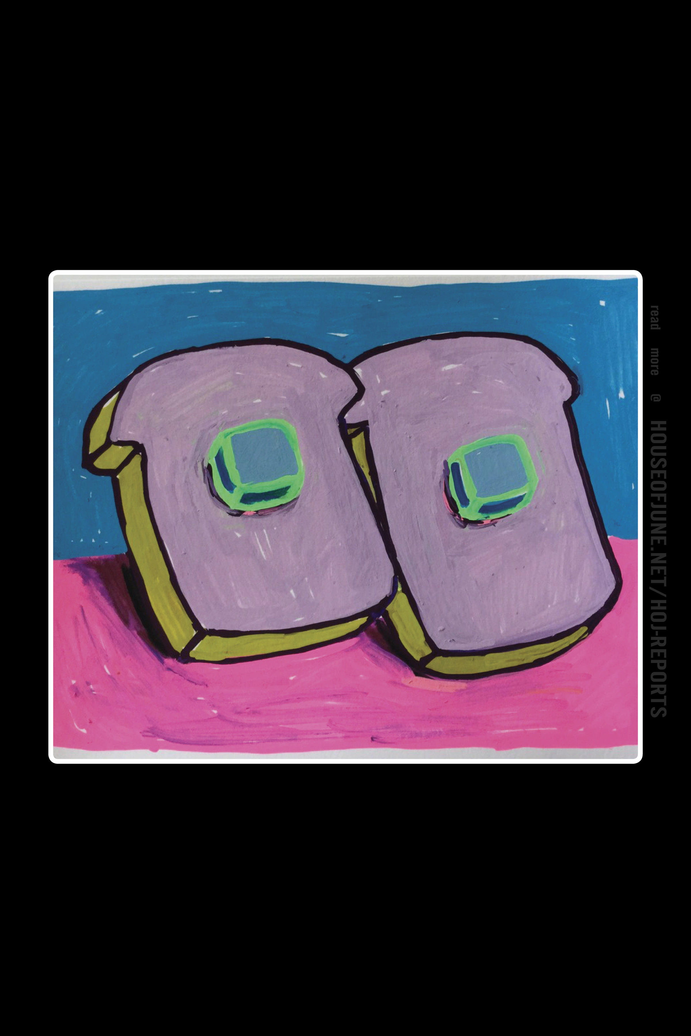 Tori Tinsley   (Acrylic on Paper)  Bread & Butter Violet With Blue Butter #3, 2017