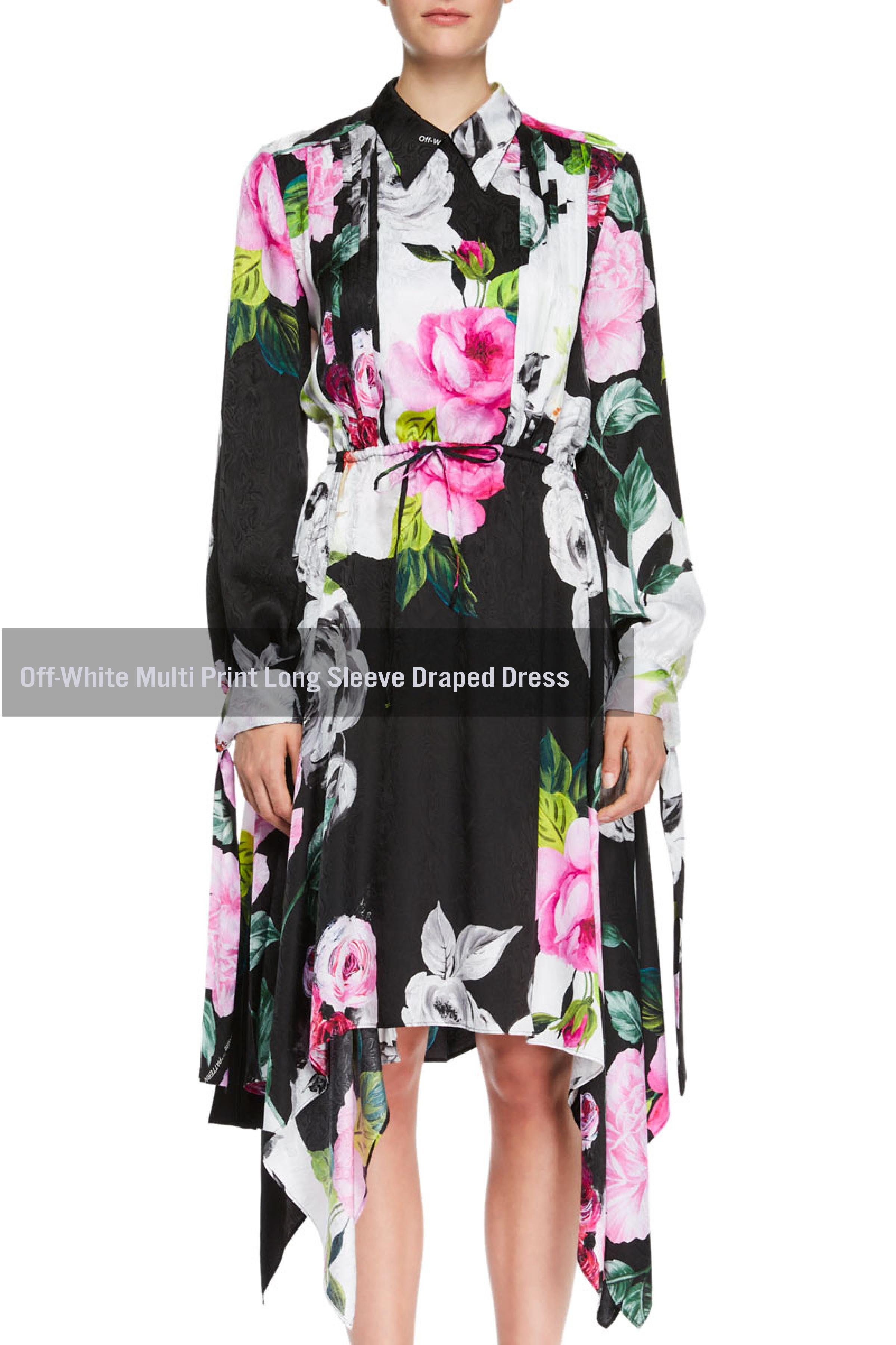 Off-White Multi Print Long Sleeve Draped Dress