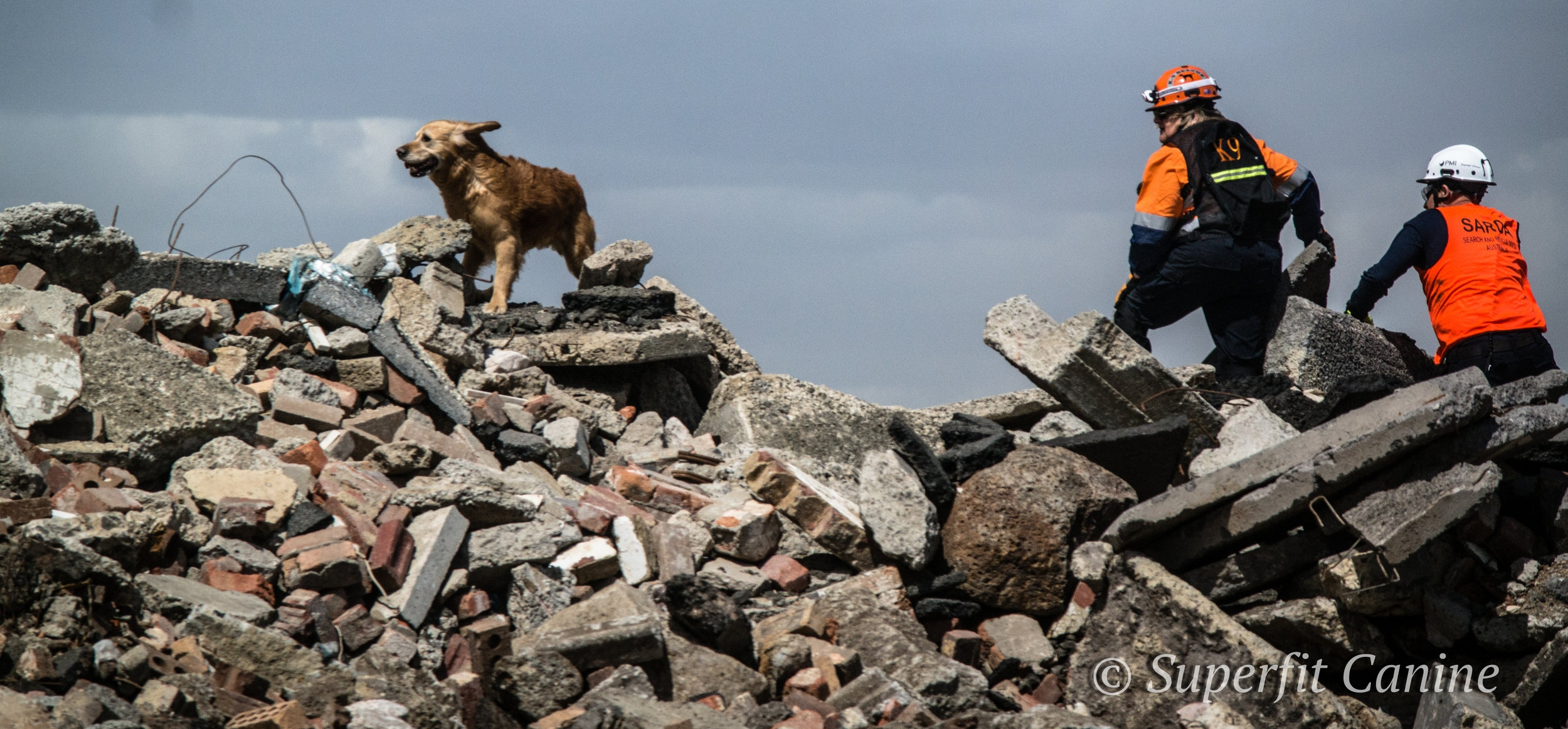 K9 Will (SARDA), handler Julie Cowan and instructor Eric Darling carefully traverse the rubble among high winds during the workshop.