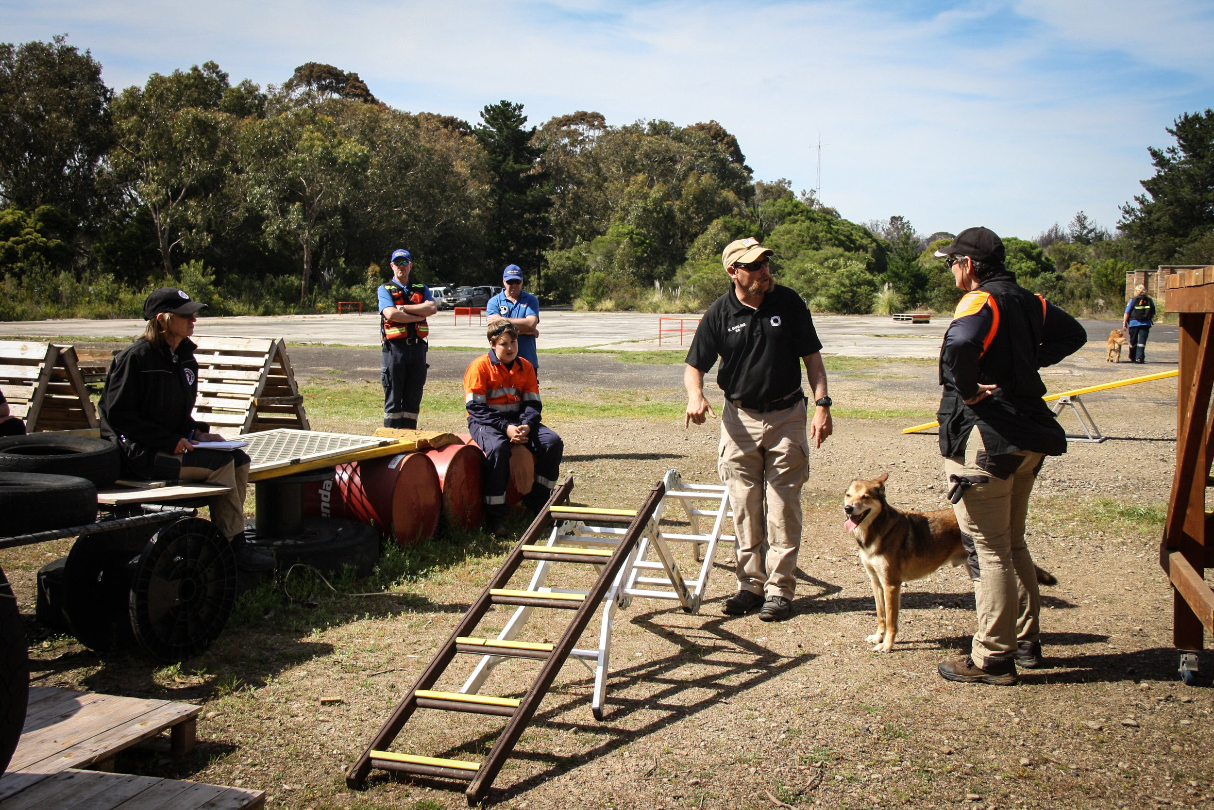 Instructor Eric Darling discusses ladder configurations with participants (K9 Boof/handler Adele Jago: Search Dogs Sydney)