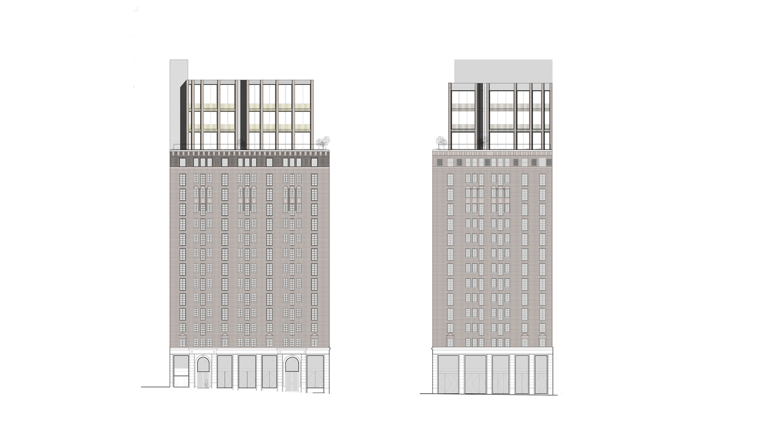 Facade Elevation with Penthouse Addition