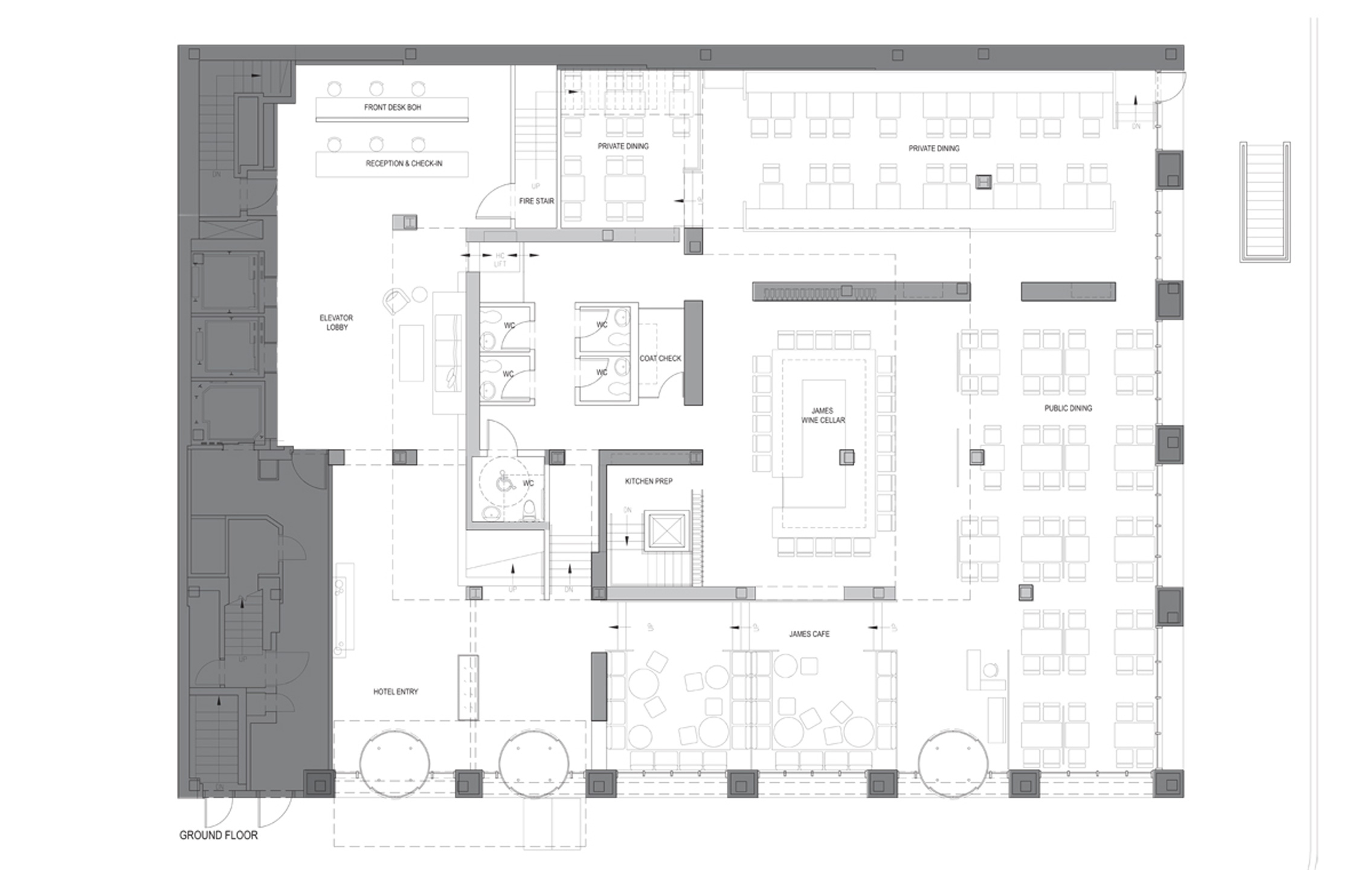 Ground Floor Plan, Lounge & Restaurant