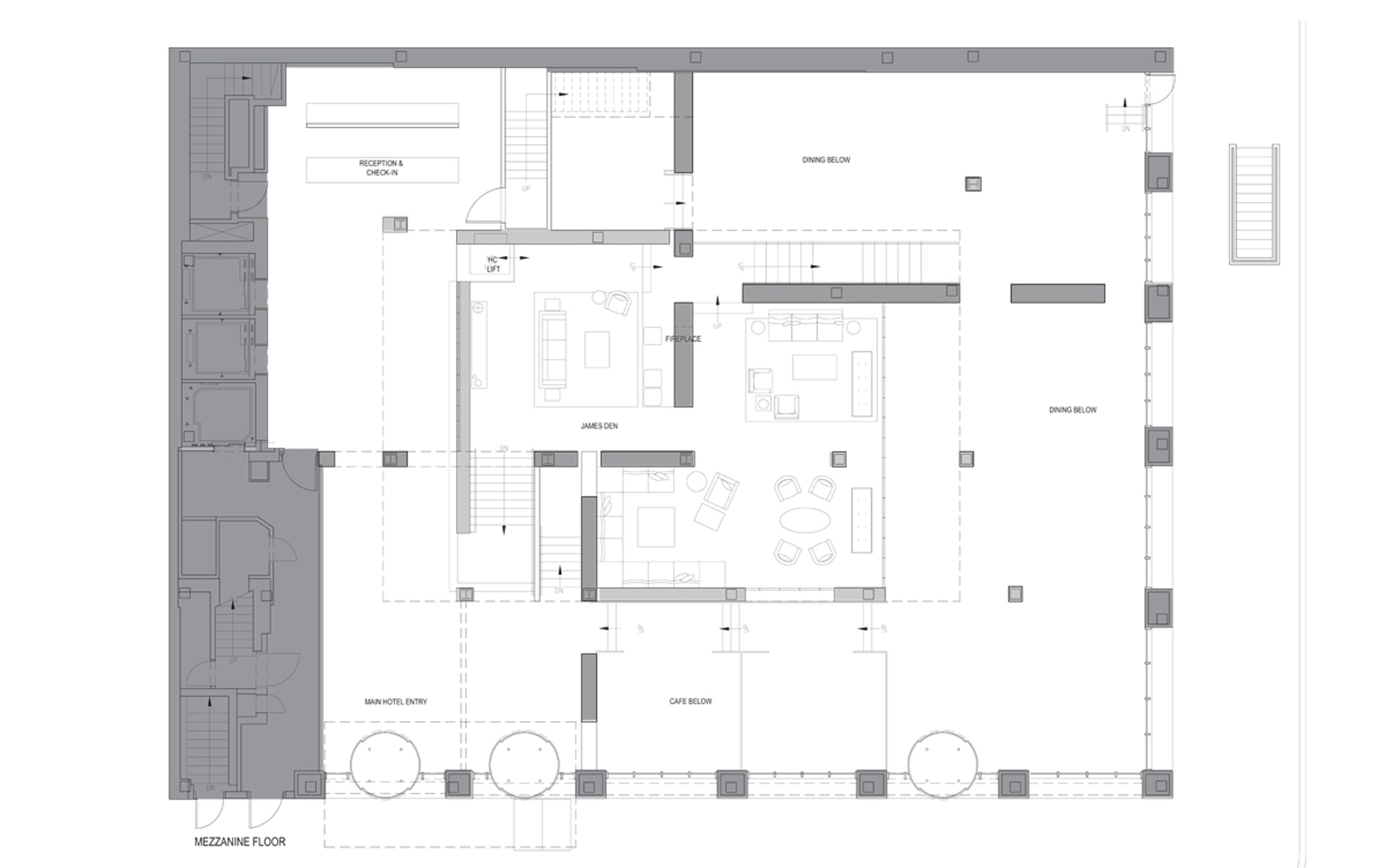 Mezzanine Plan Lounge & Living Room