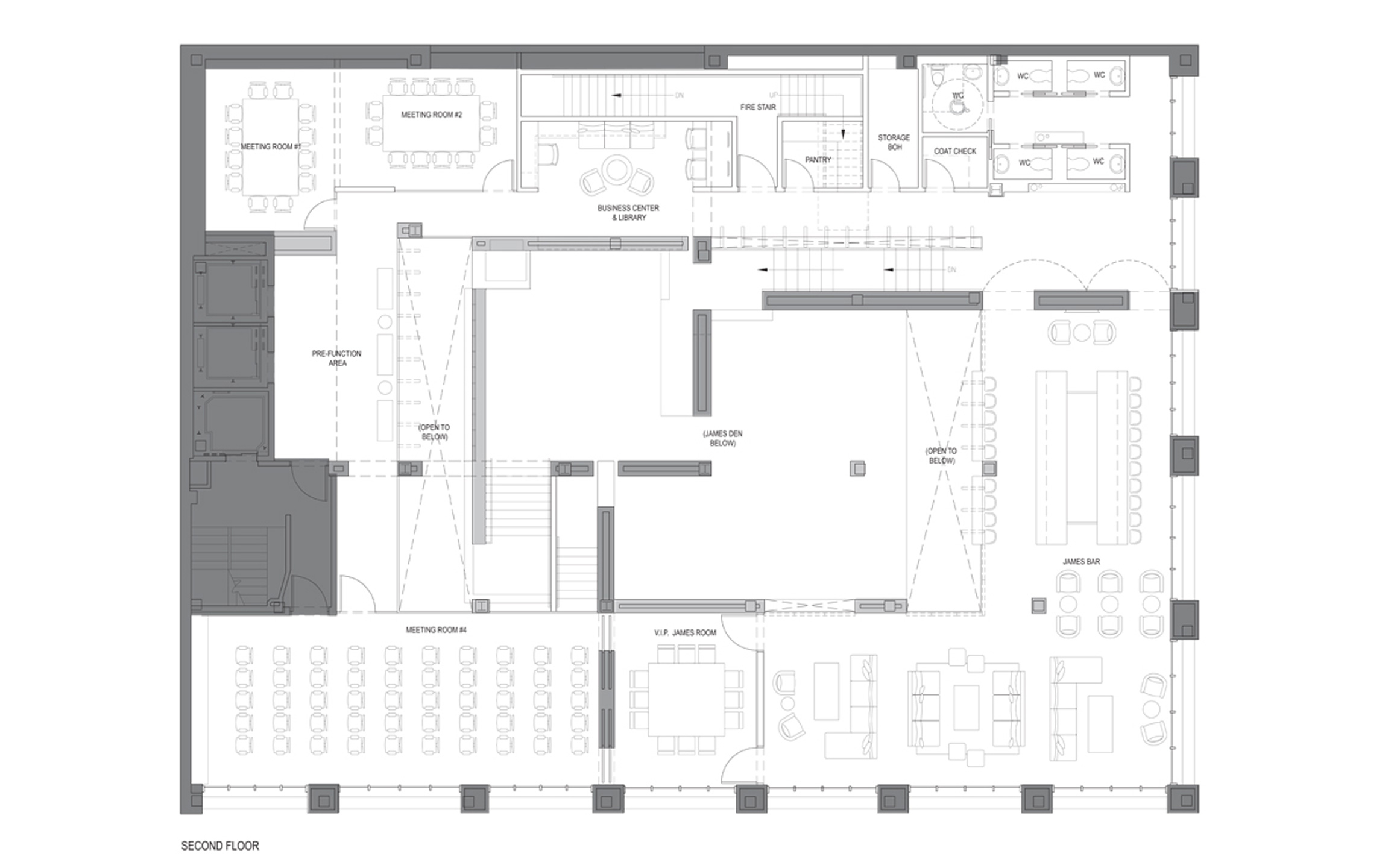 Second Floor Plan, Bar & Meeting